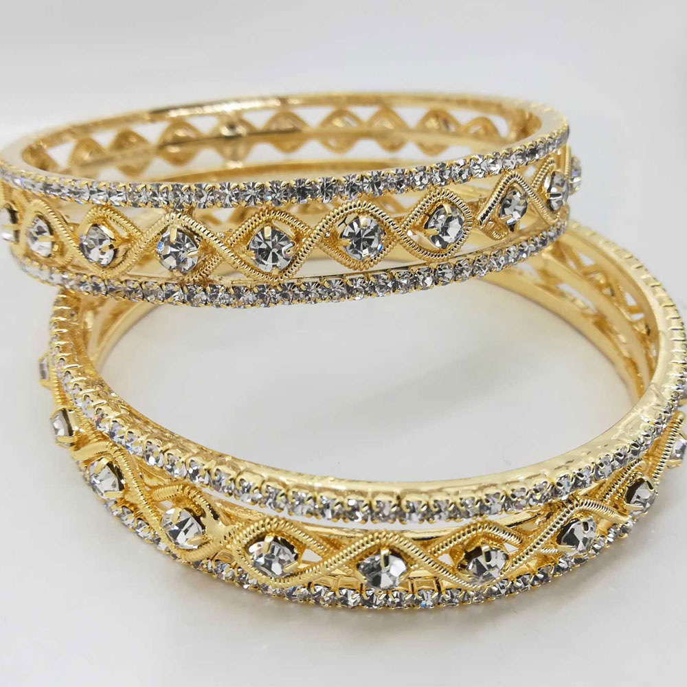 diamante bangle set in white and gold