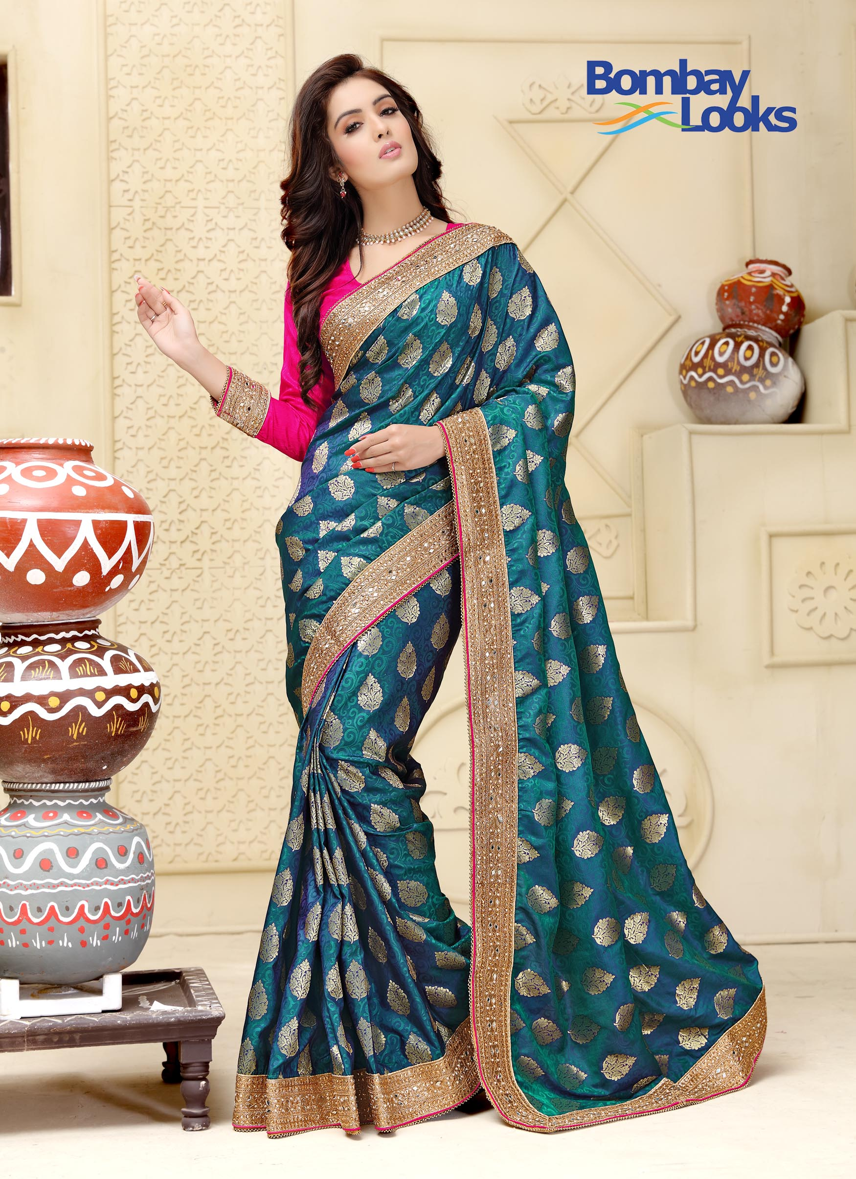 Classy two toned silk saree in pink and blue with heavy embroidery