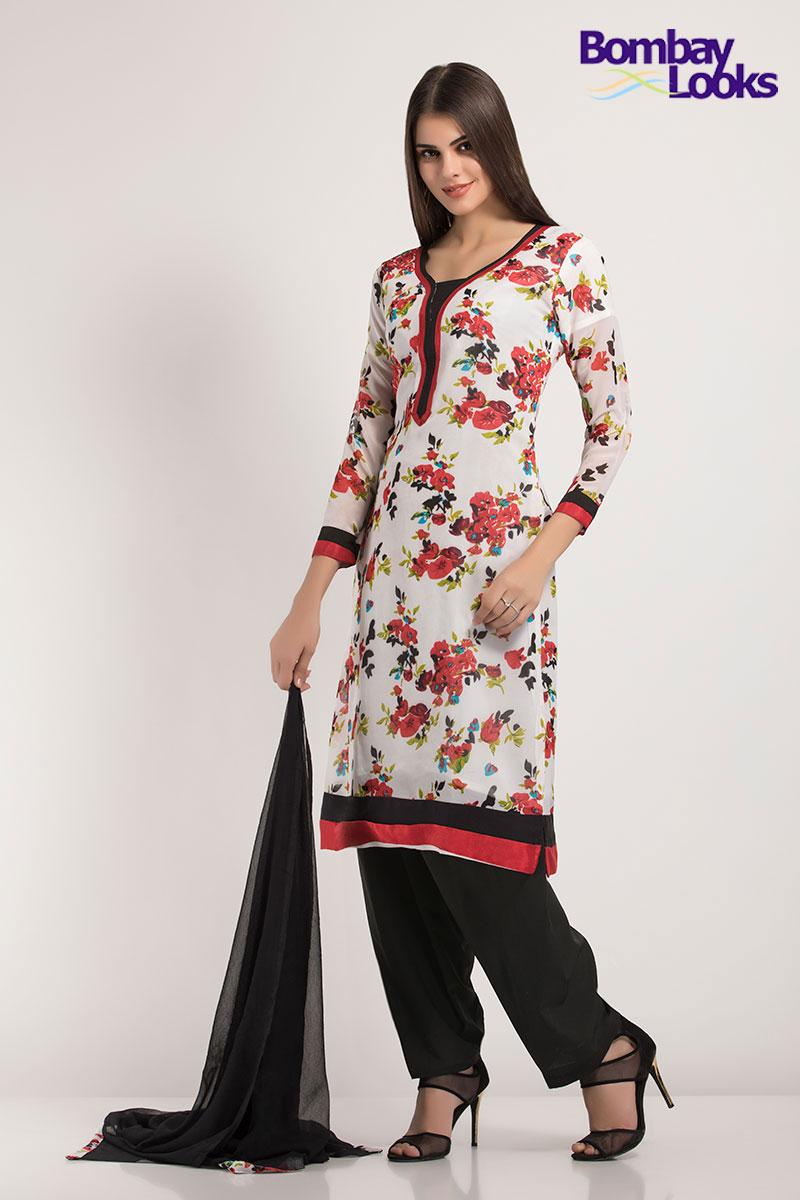 Soothing and soft floral printed suit with black and red borders