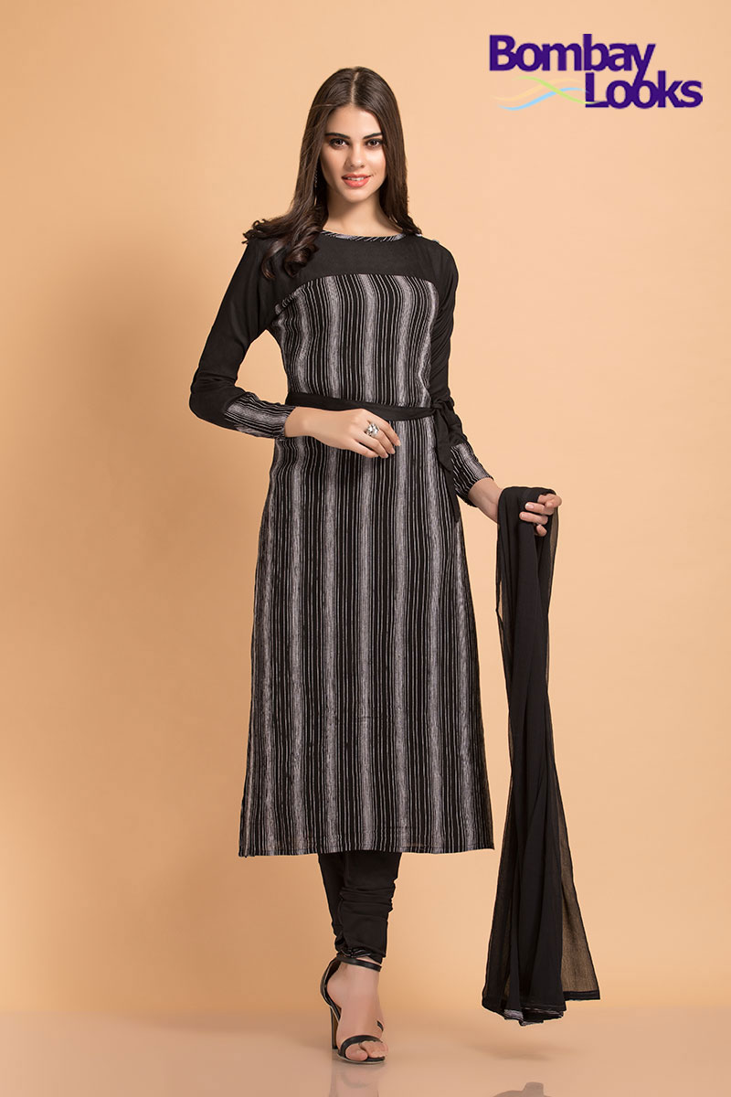 Longline striped monochrome suit with full sleeves