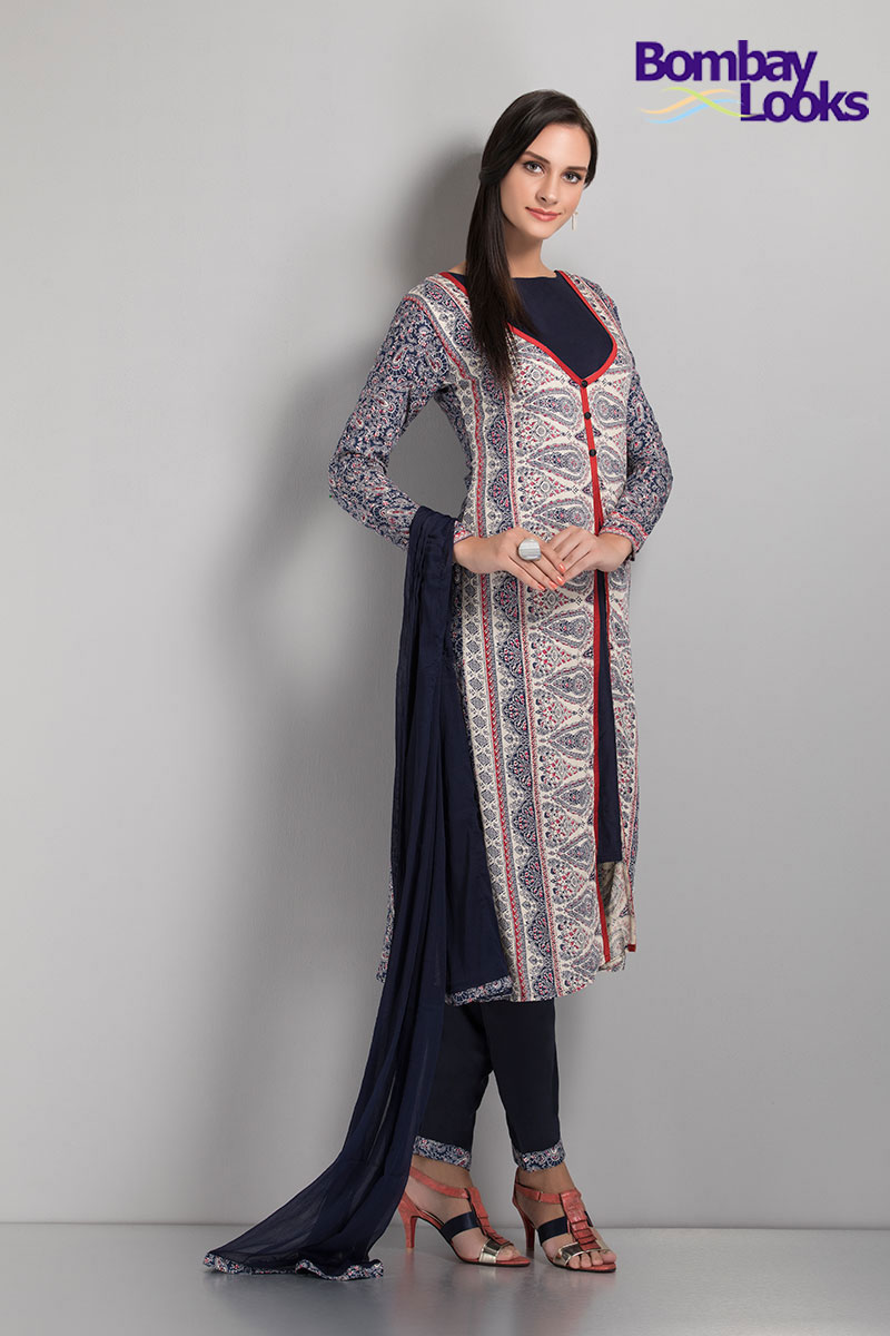 Exquisite and rich floral printed jacket style suit in white and navy