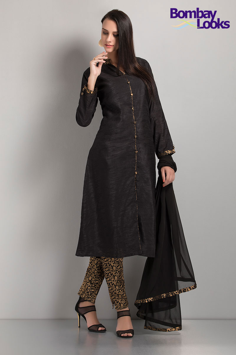 Black and gold printed elegant kurti with borcade pencil trousers