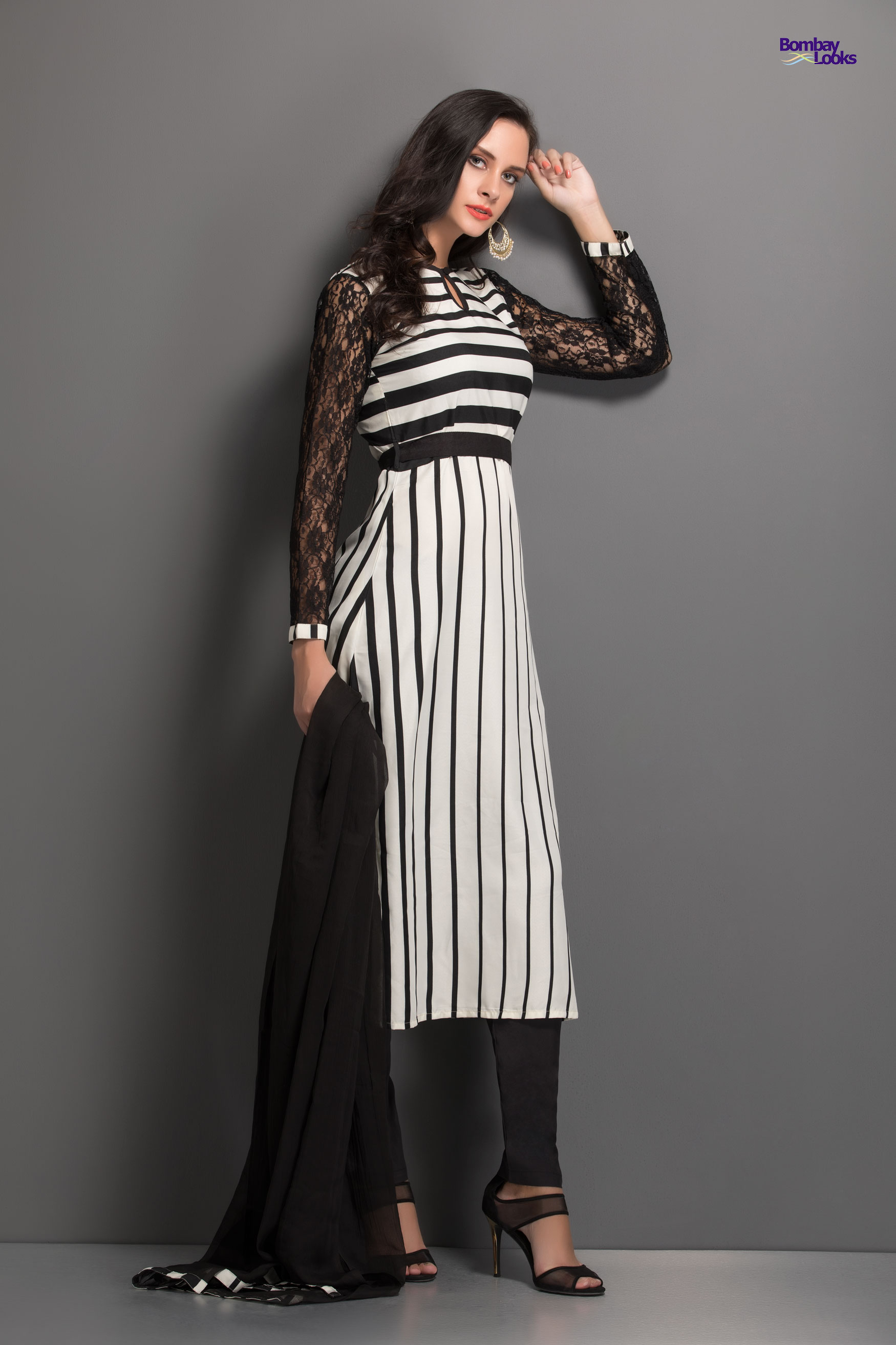 Elegant striped monochrome dress with lacey sleeves