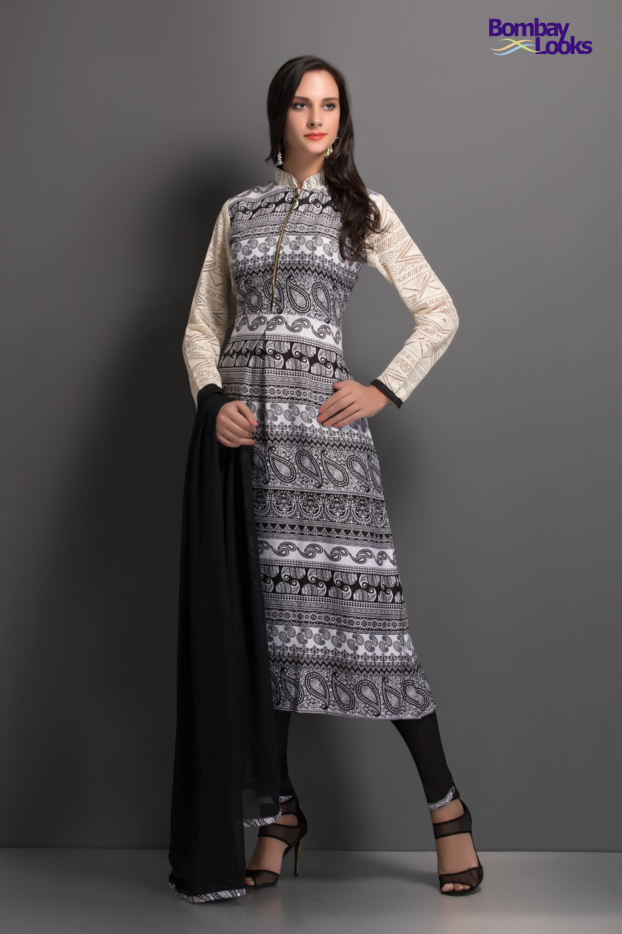 Grey and white geometric printed suit with lacey sleeves