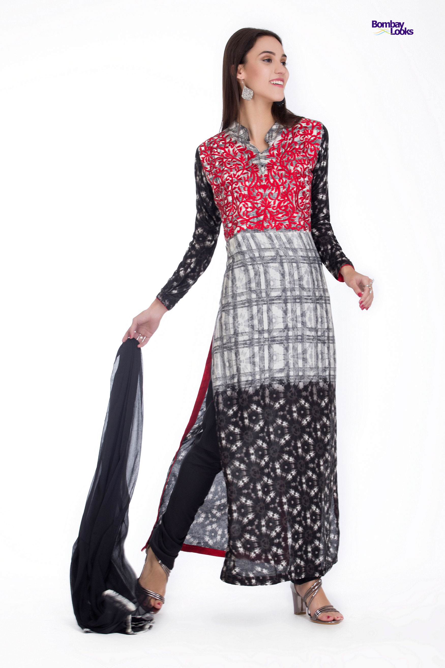 Smart long line suit with rich contrasting colours prints and embroidery