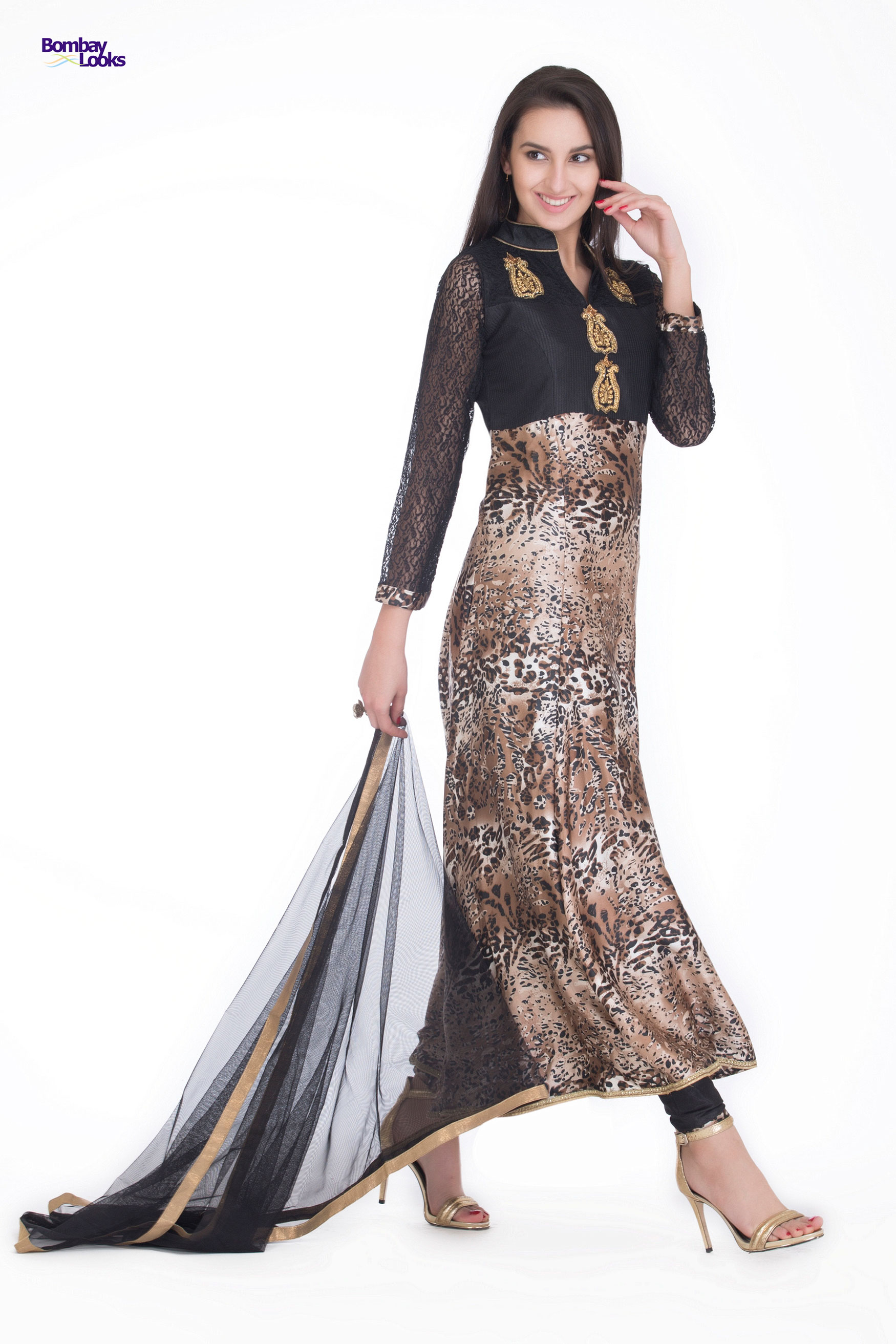 Longline sleek tiger printed suit with lace sleeved and dabka work