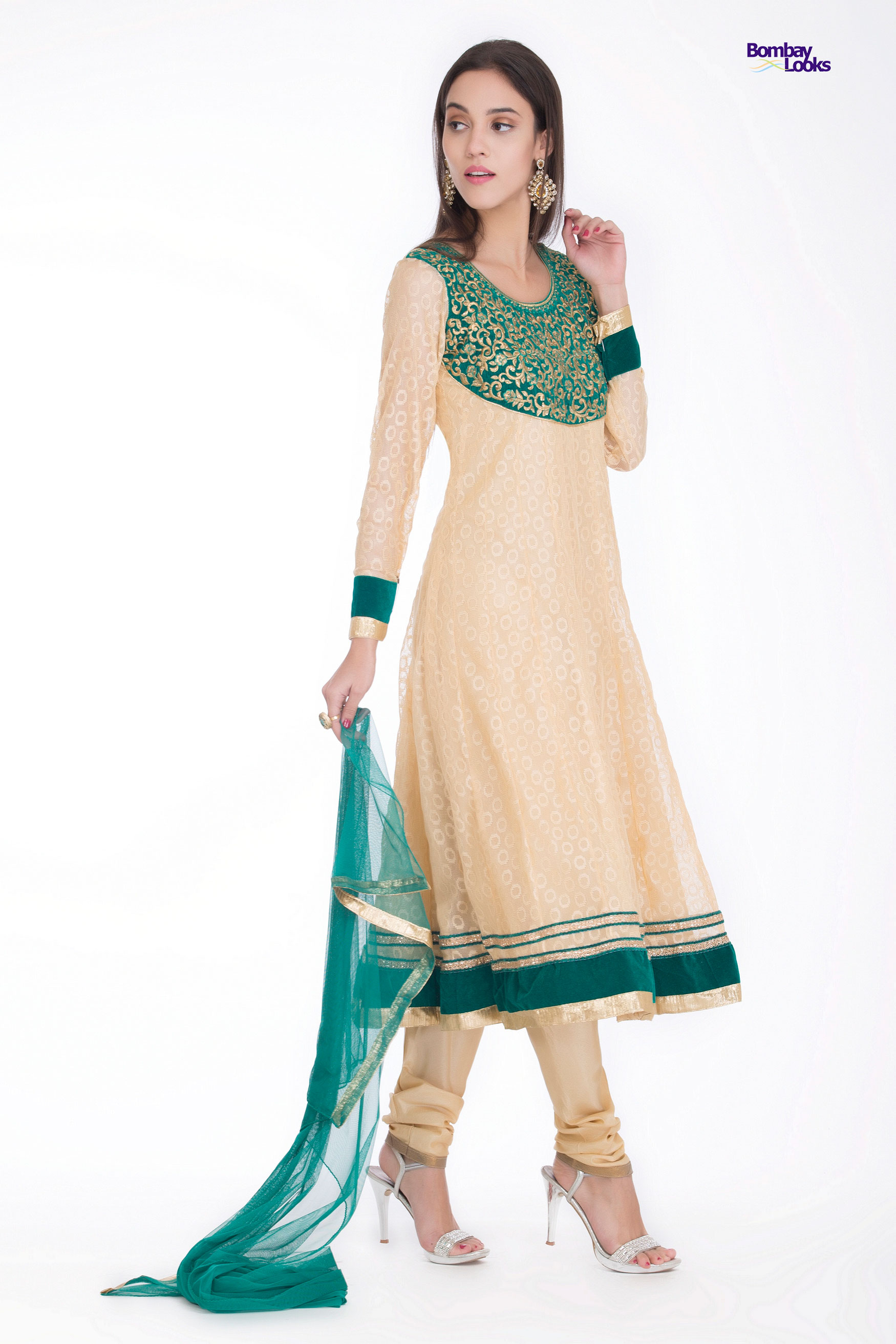 Longline soft net dress in gold and green with elegant zardosi style embroidery