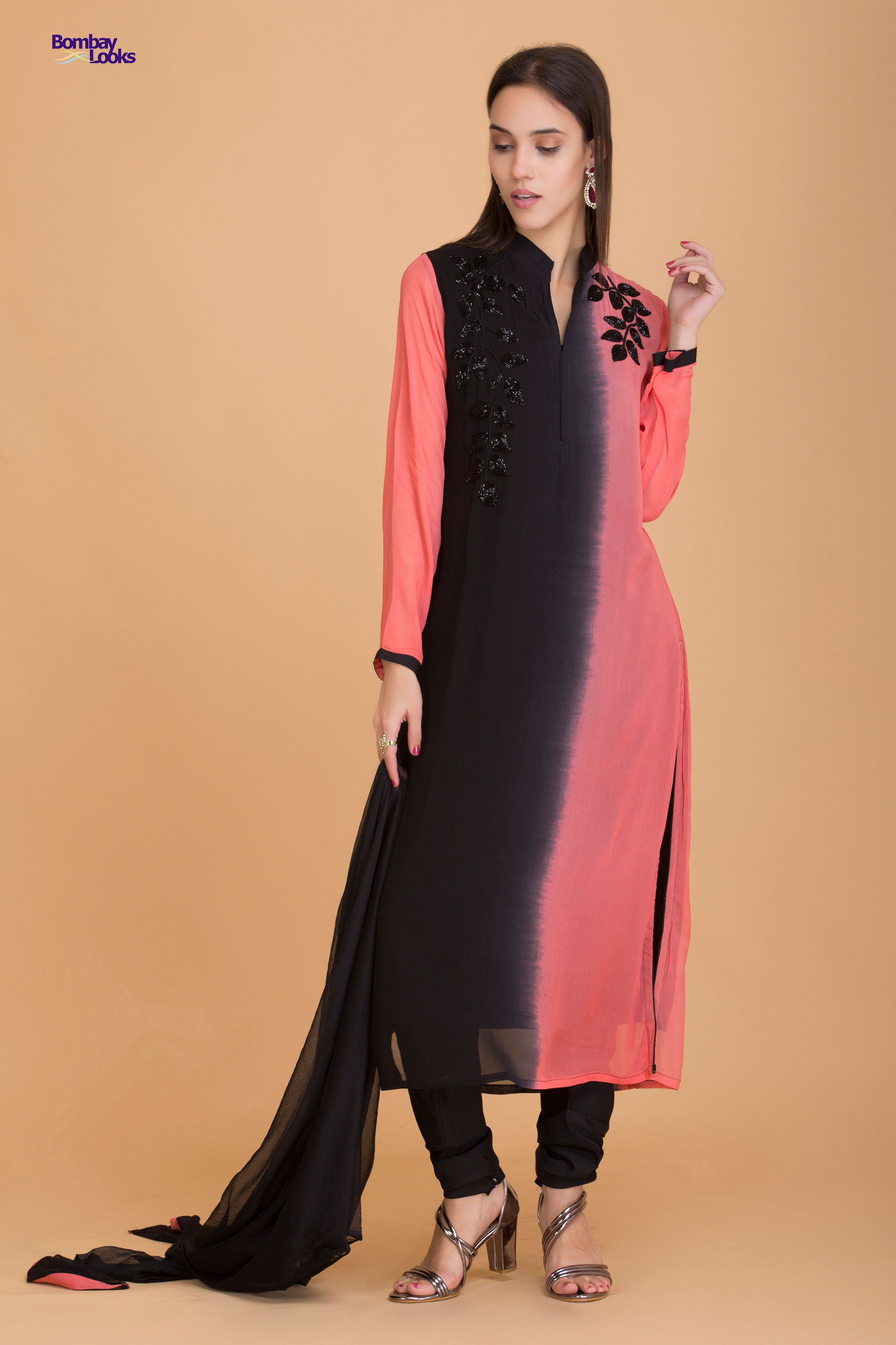 Carrot and black shaded long line fitted suit with glittering embroidery