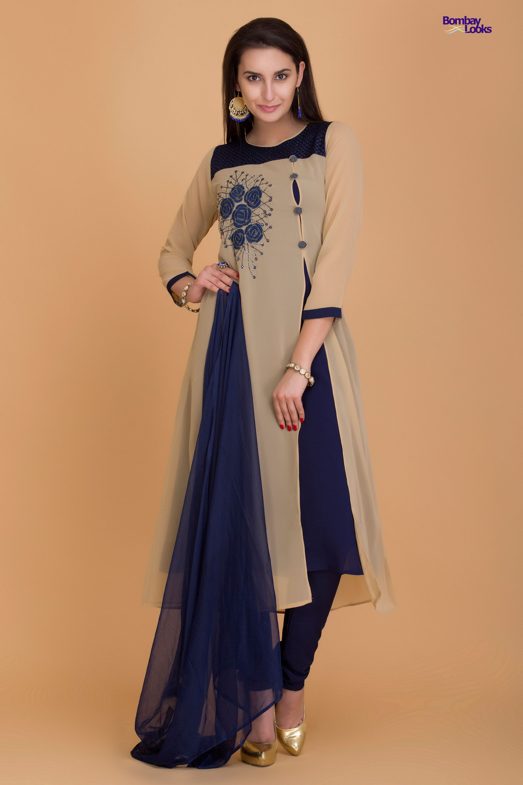 Smart split suit in beige and navy blue with delicate floral embroidery