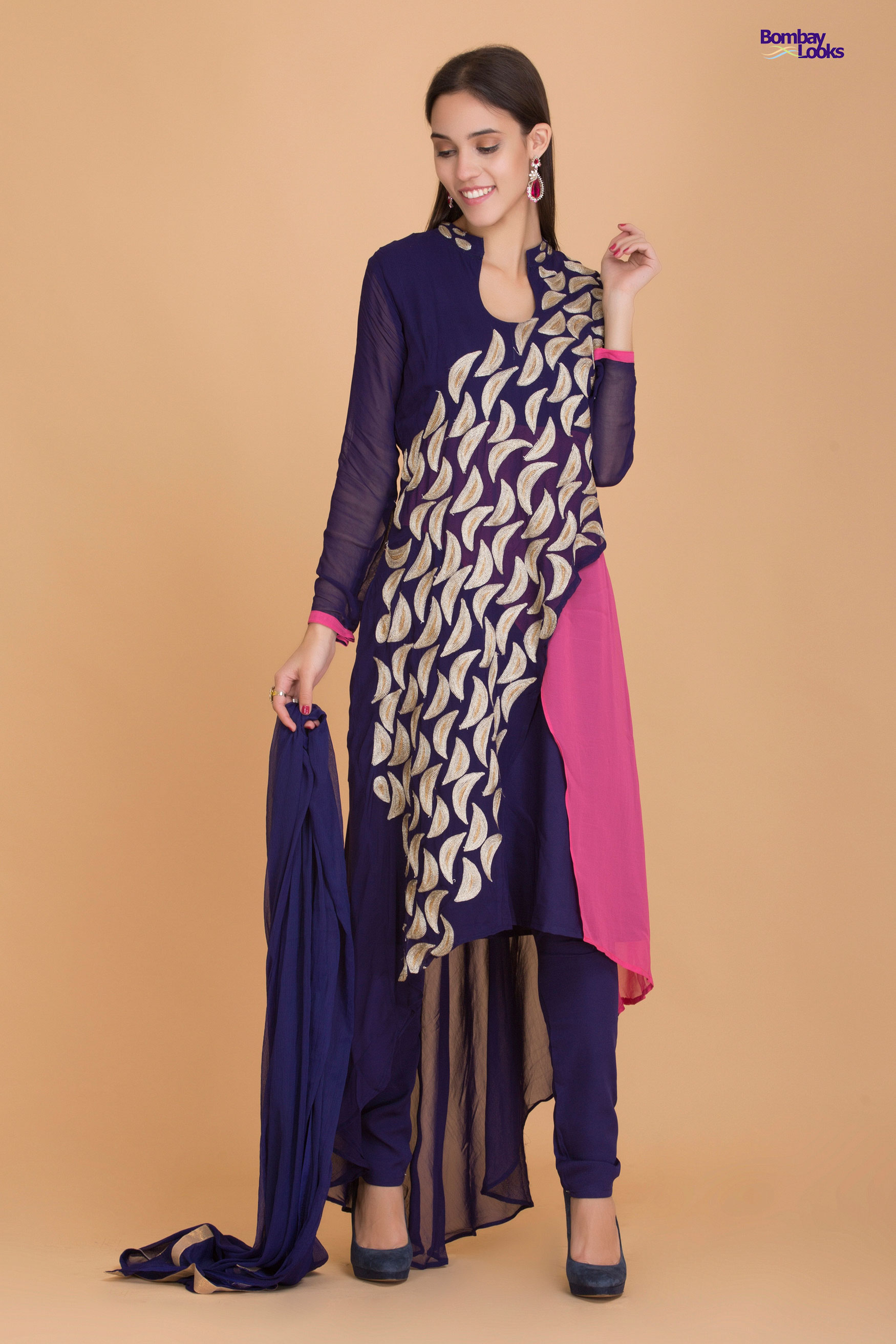 Beauful foliage embroidered suit in blue and pink and layers