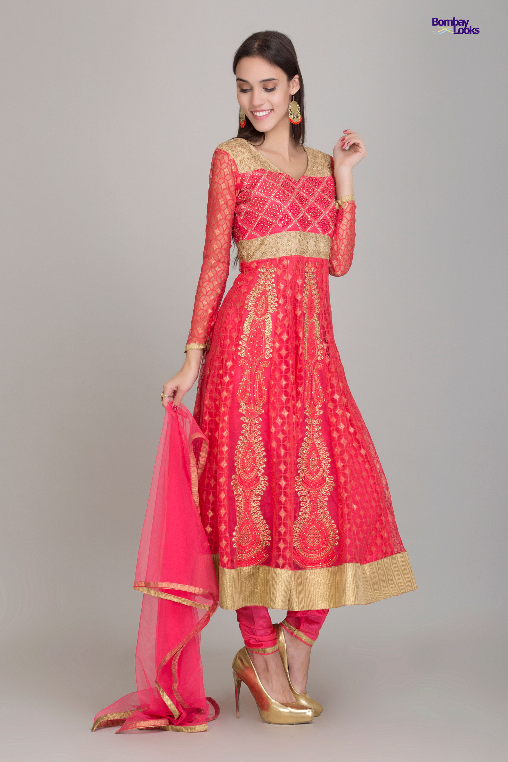 Sheer coral and gold formal suit with embroidery and stone work