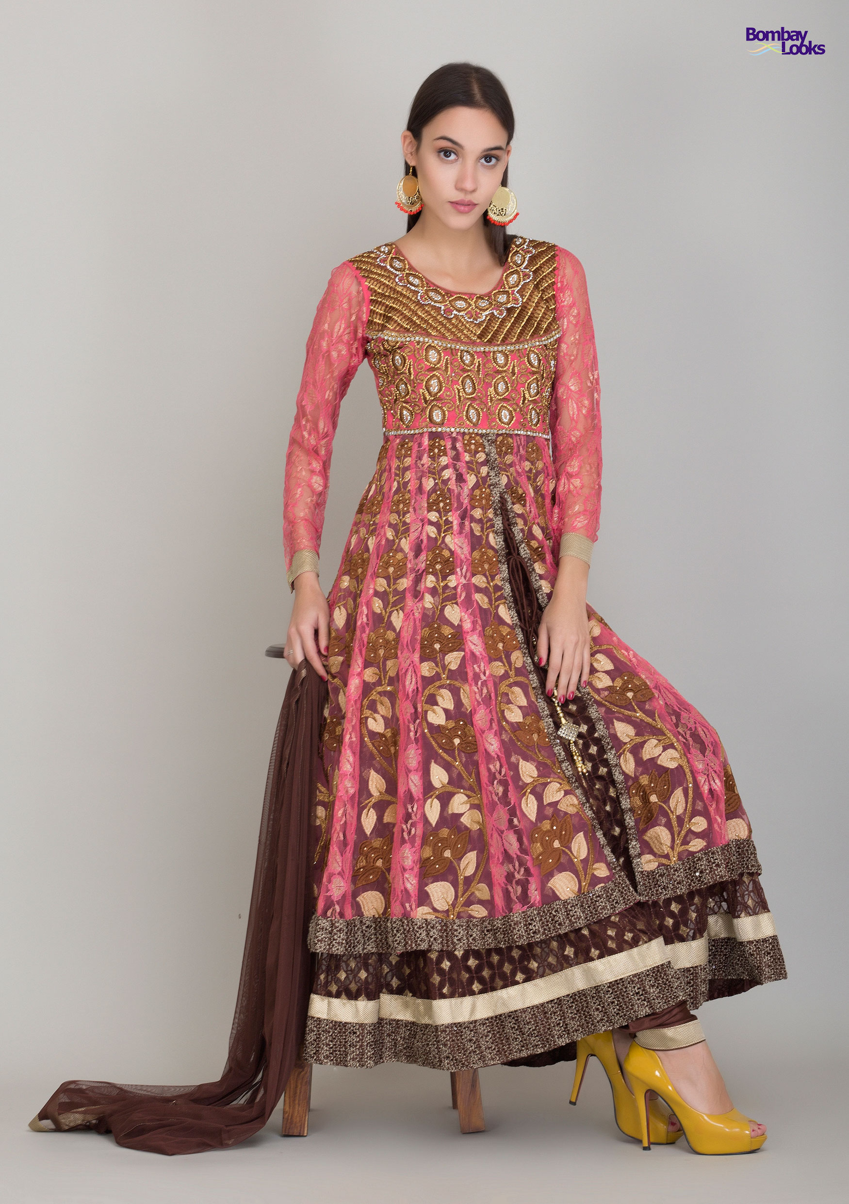 Rich embroidered layered suit in pink, beige and brown
