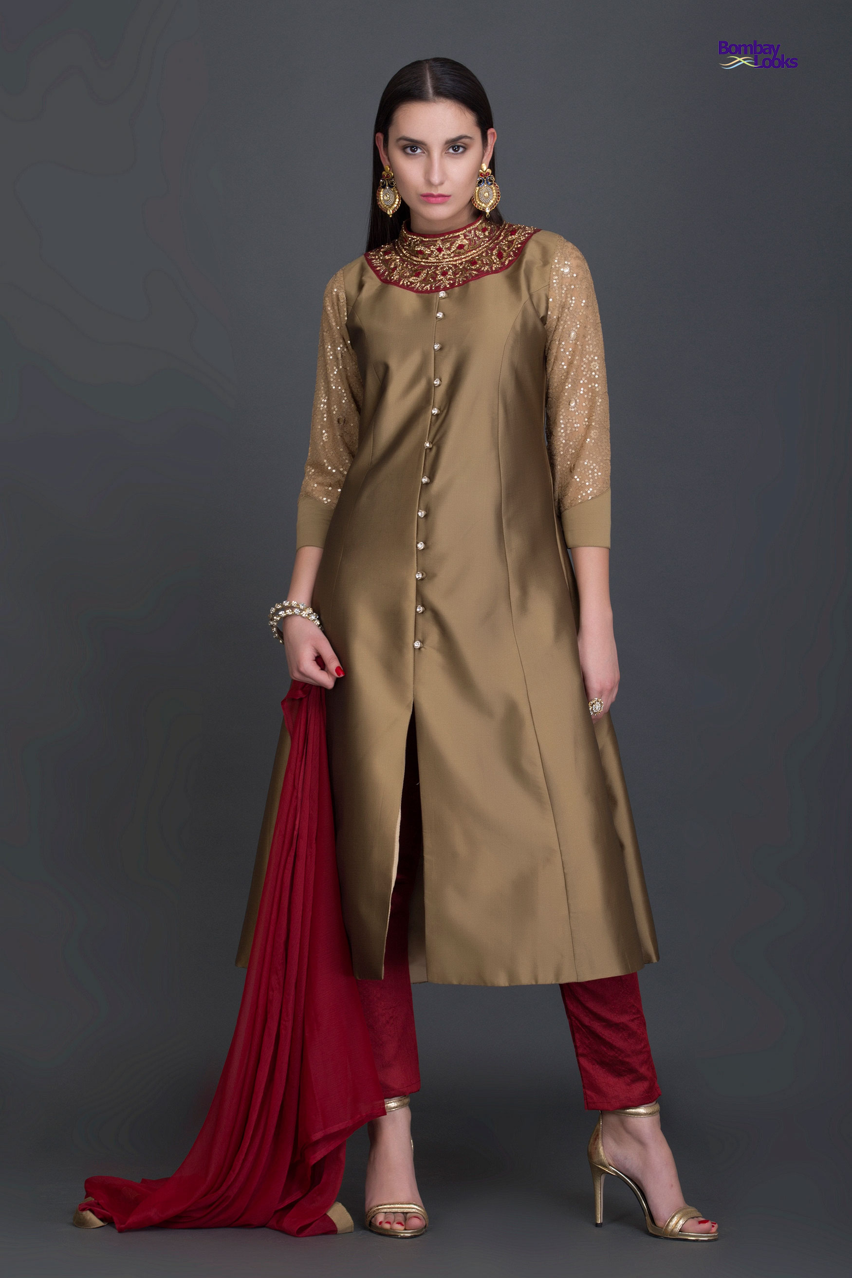Royal kalidaar suit with royal tones and golden embroidery