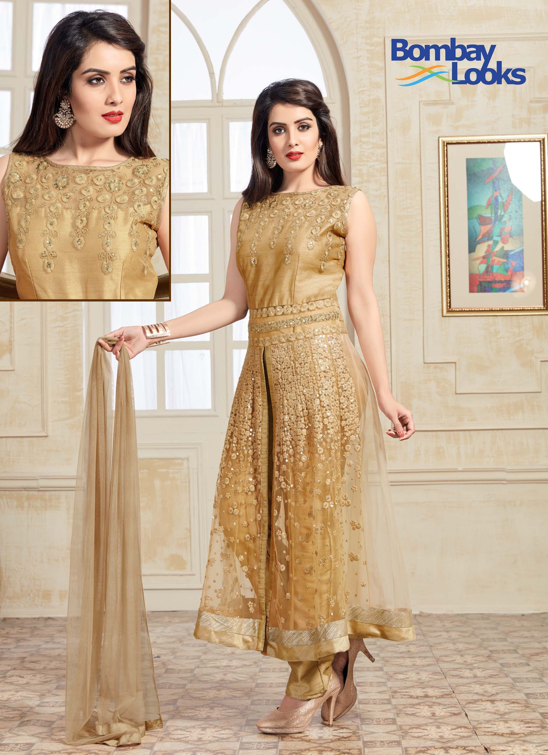 Luxurious golden dress suit with intricate golden thread embroidery all over