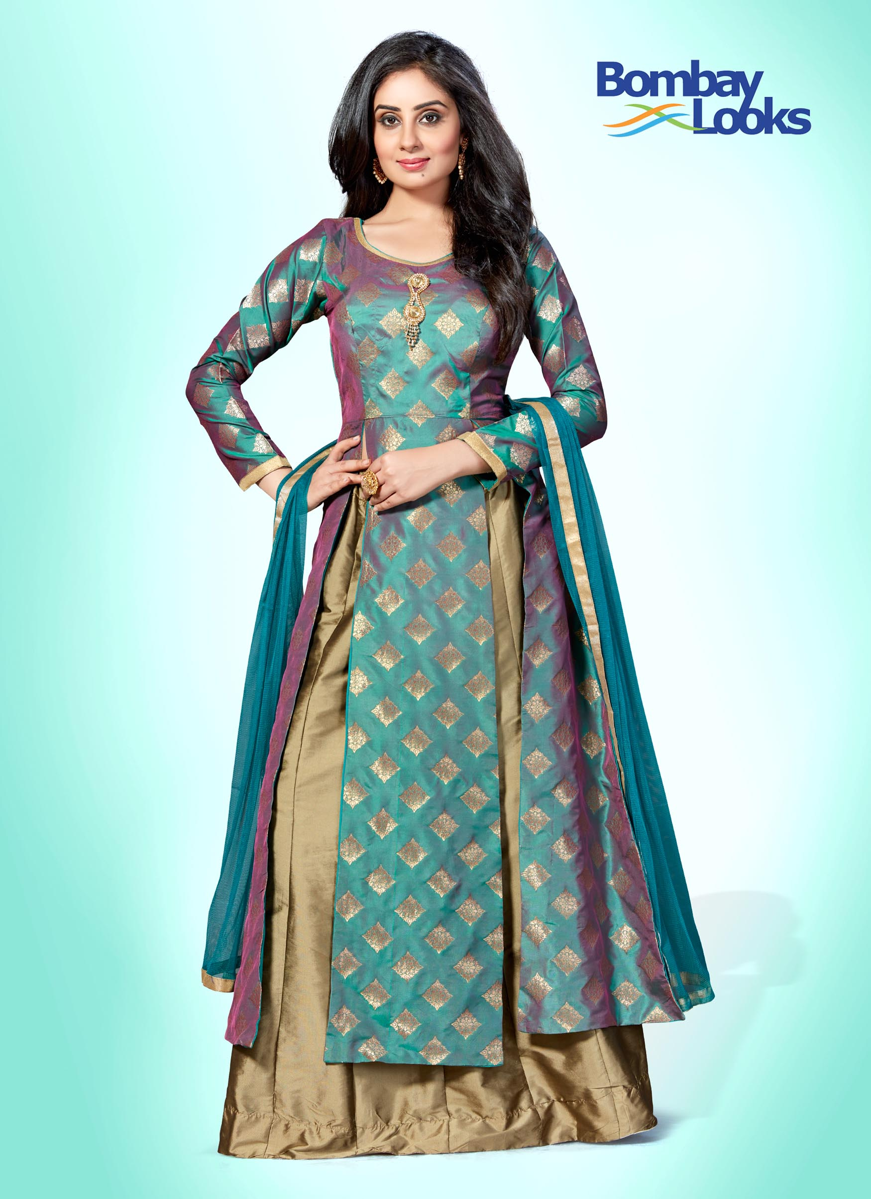 Dual tone green and purple suit set with antique gold skirt