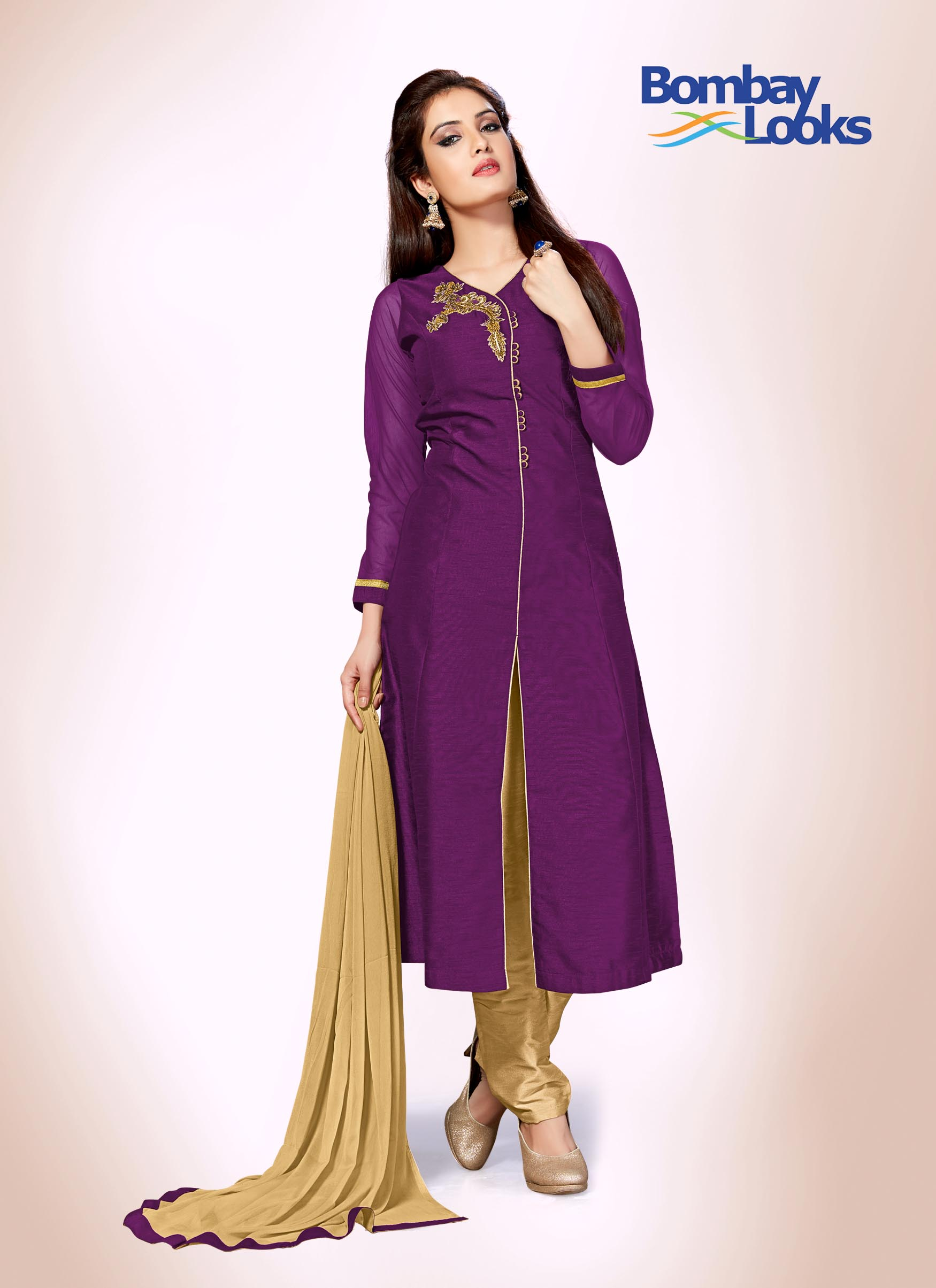 Wine purple suit set with gold pants and dupatta