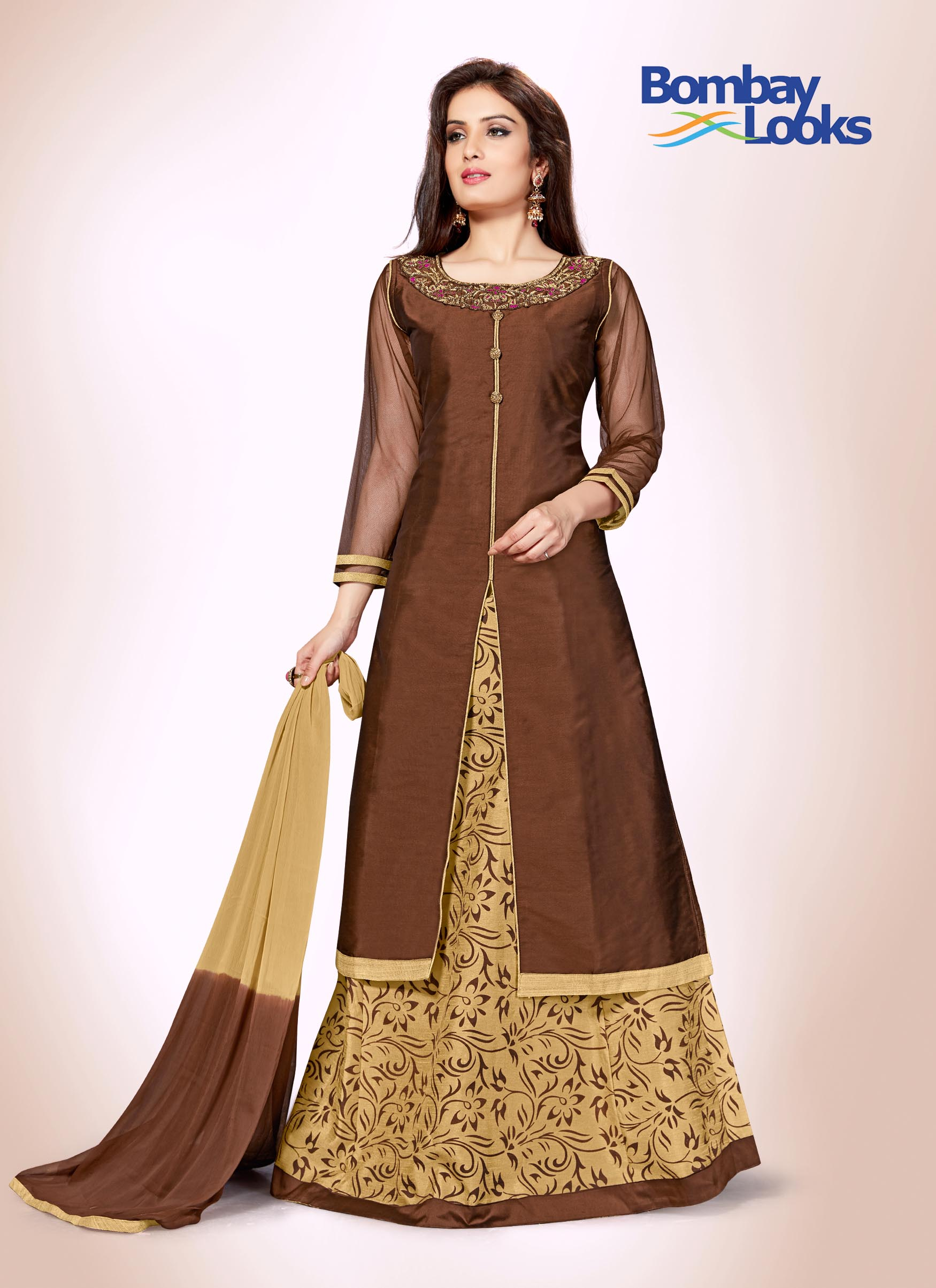 Chocolate brown and gold suit set with gold skirt bottom