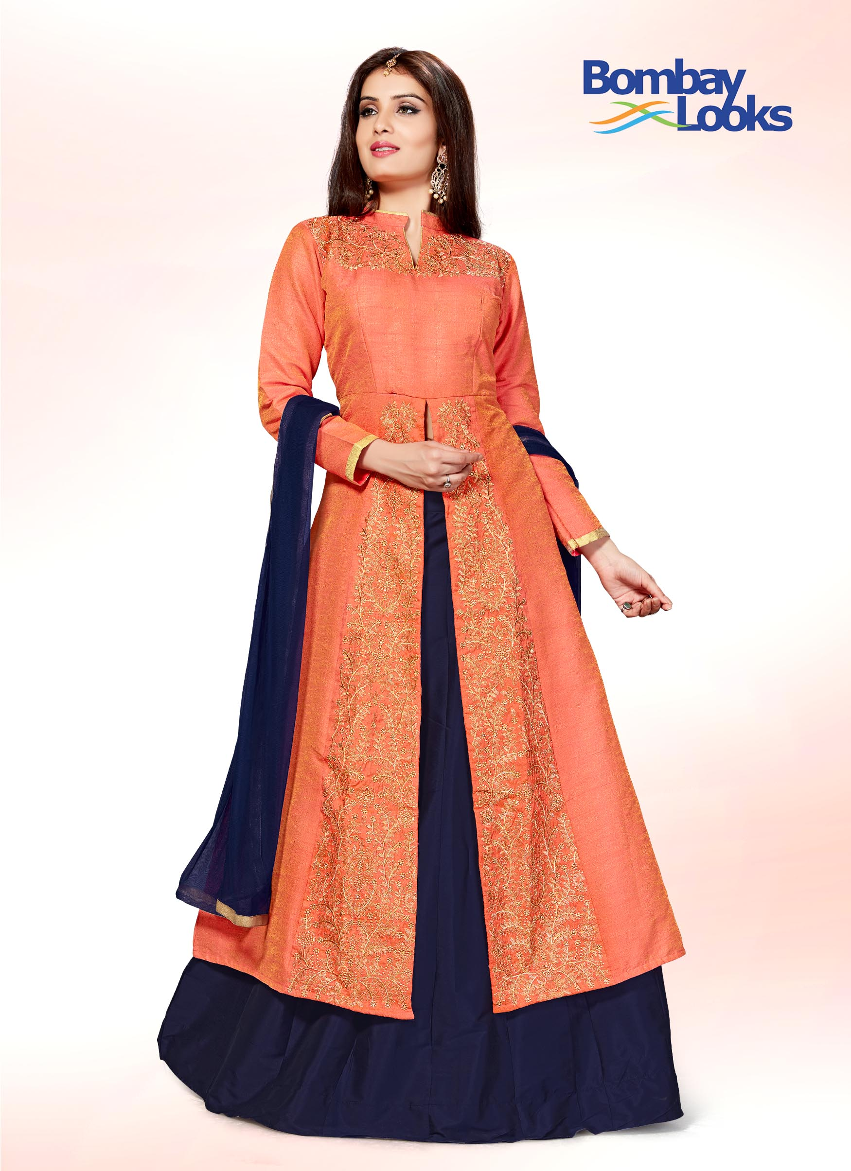 Orange suit set with navy blue skirt