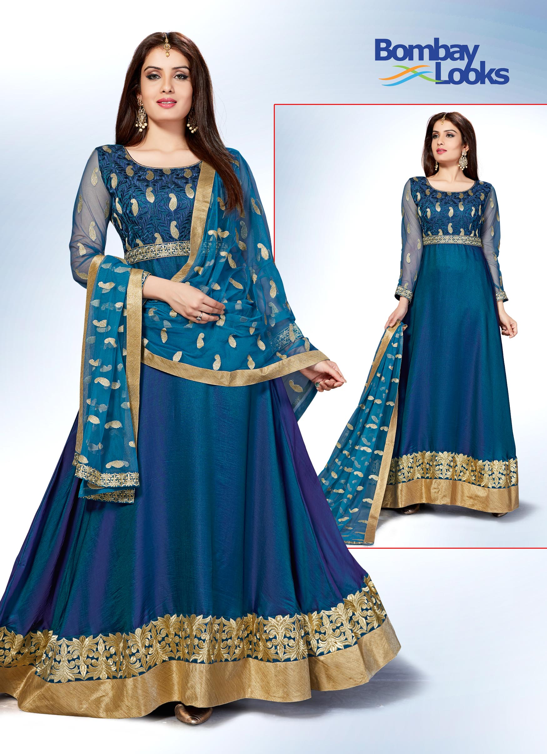 Stunning blue anarkali has full sleeves with gold border and heavy gold embroidery done on the bodice, hem and dupatta
