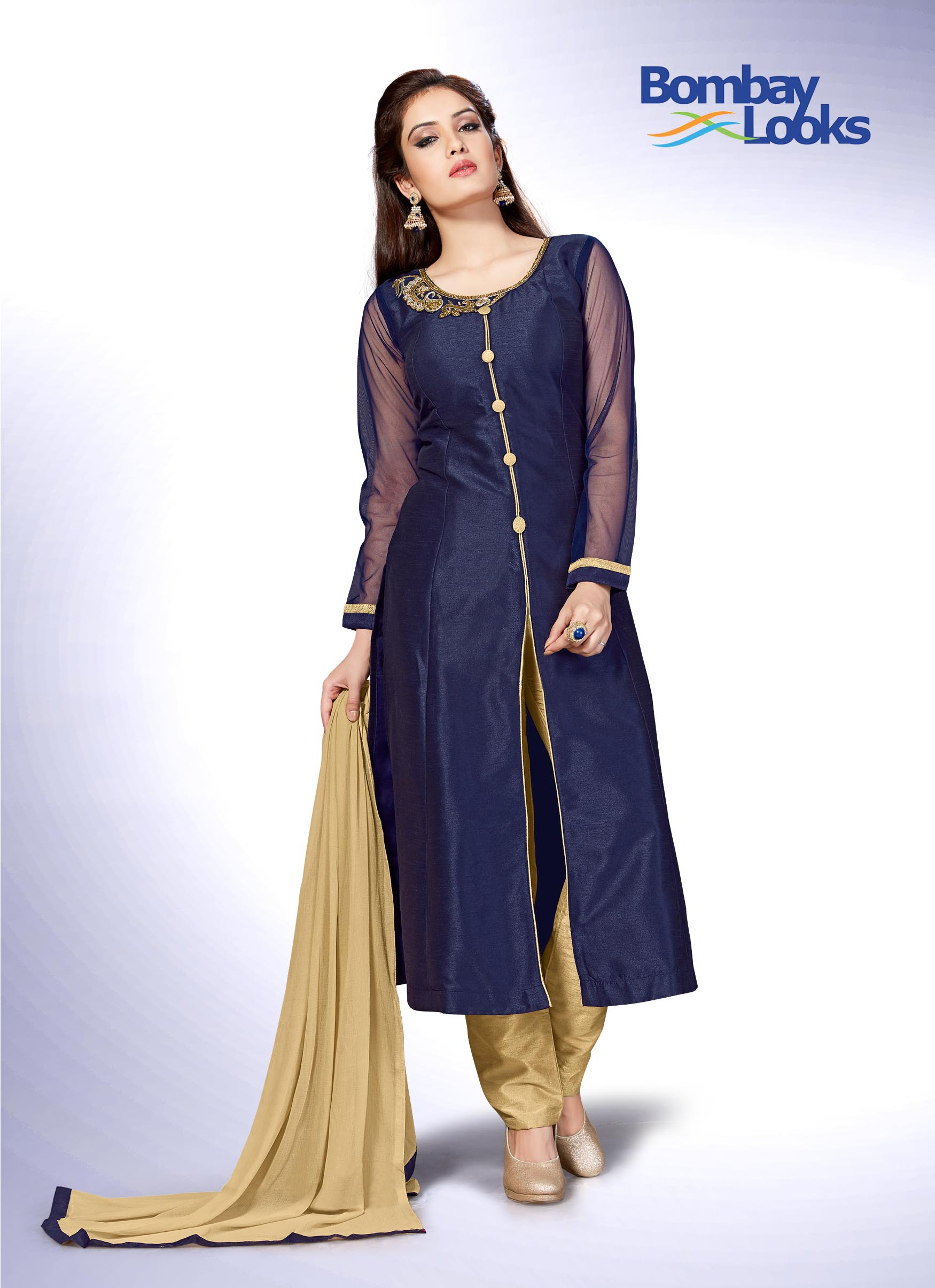 Gorgeous navy blue suit with gold embroidery on the neckline and comes with contrasting gold  pants and dupatta.