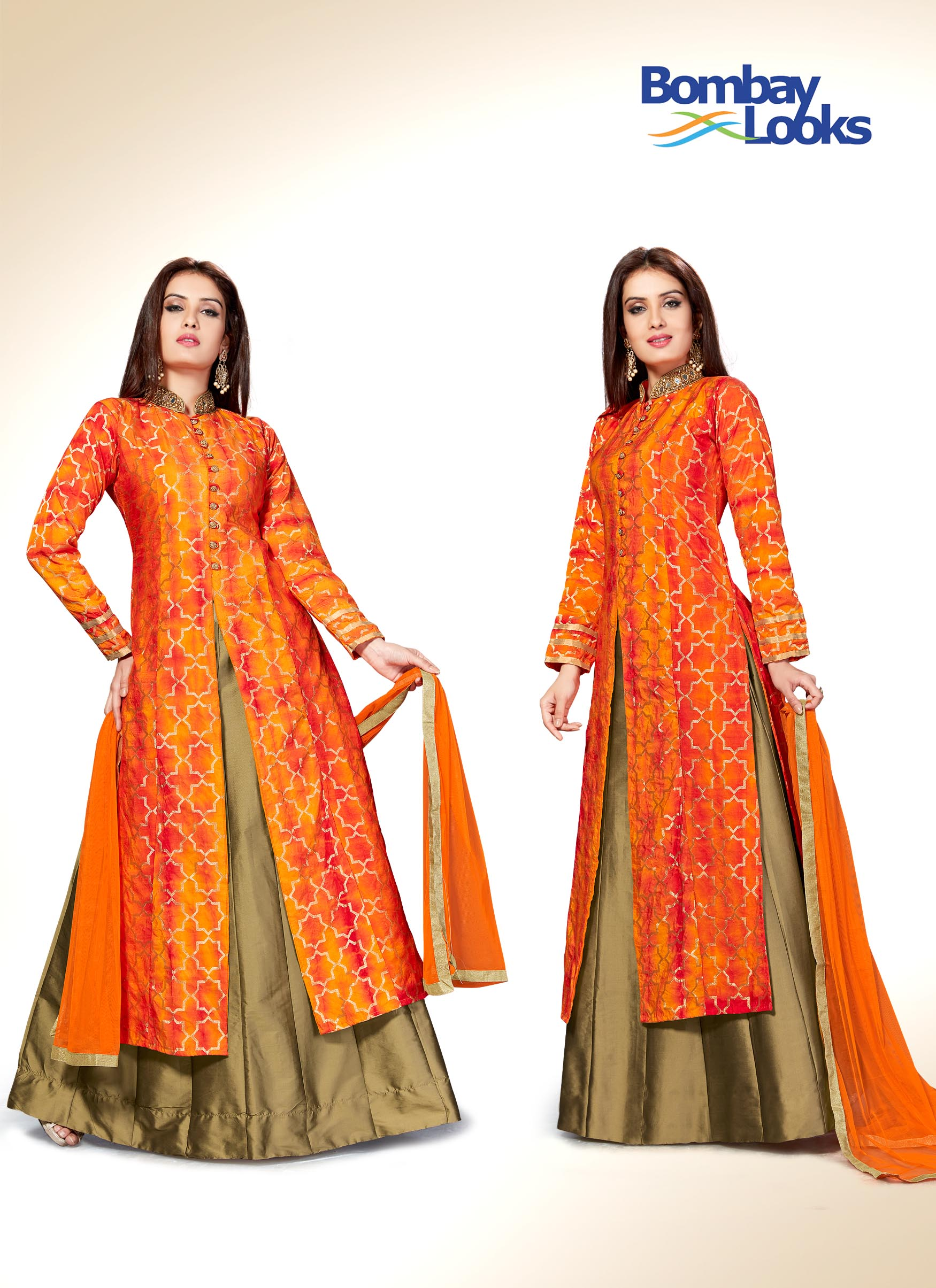 Dual toned orange suit set with Antique gold  skirt