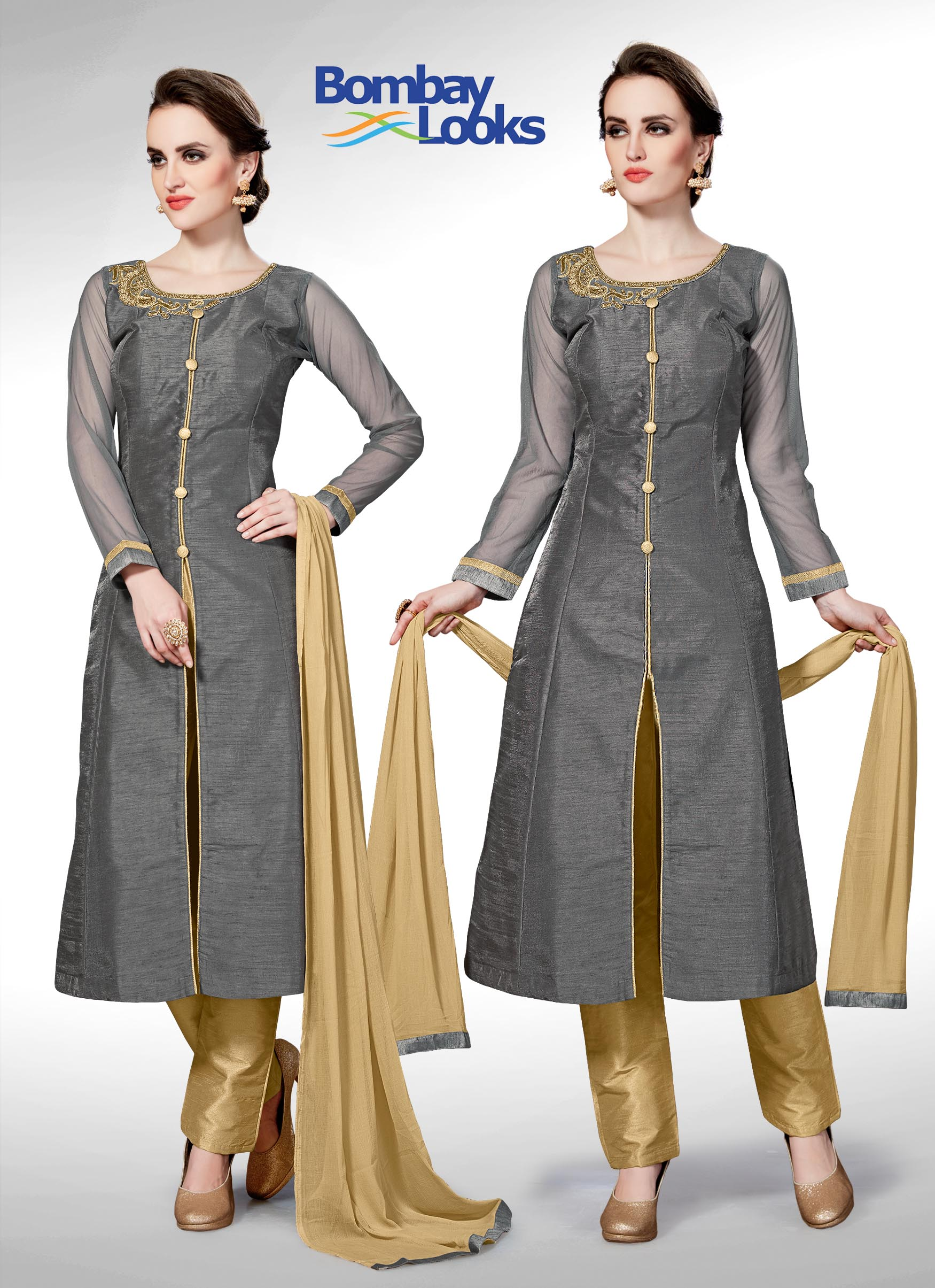 Stunning grey suit with gold straight pants and dupatta