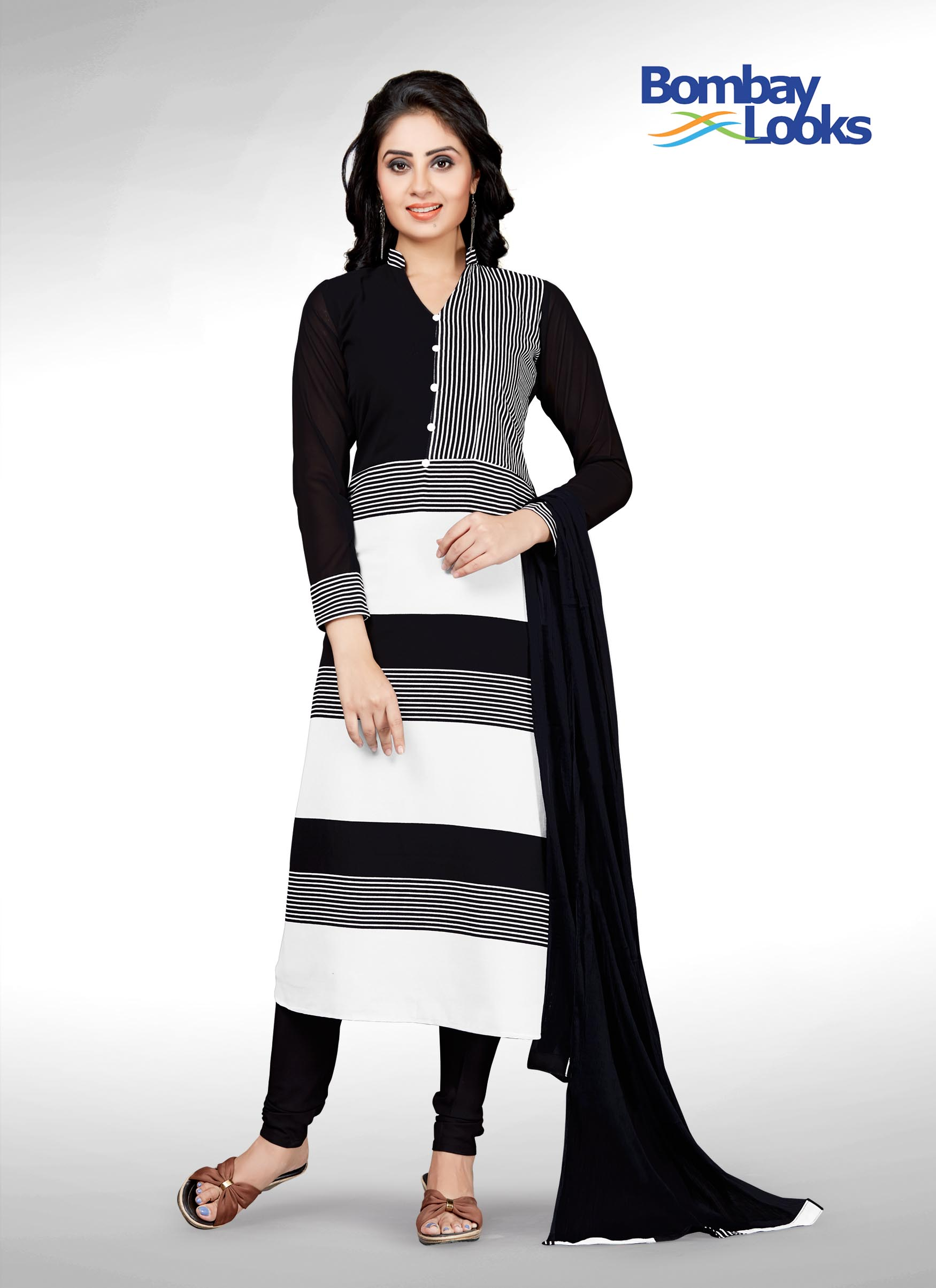 Monochrome black and white churidar set with full net sleeves