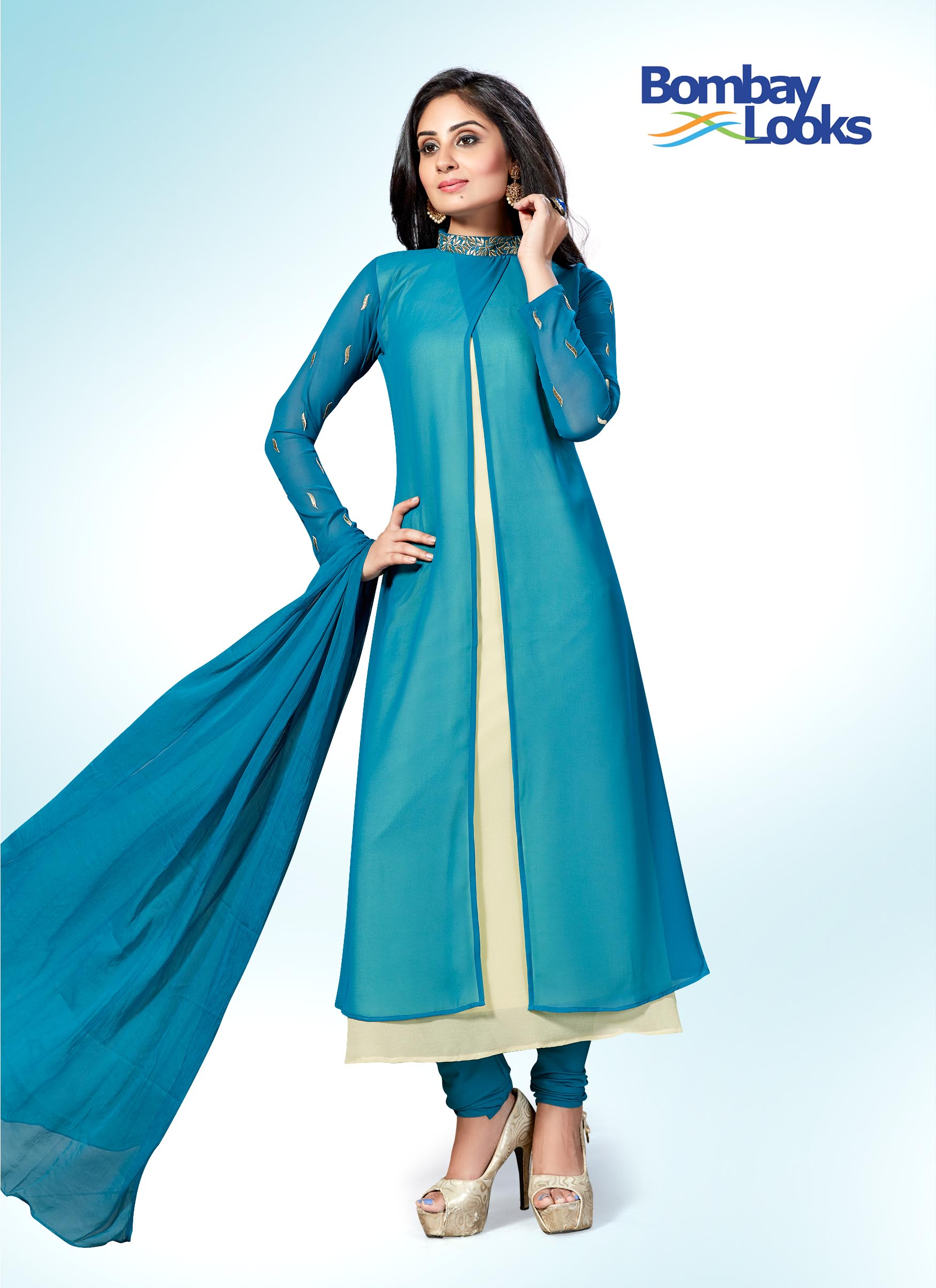 Dual coloured churidar suit in jade blue and gold