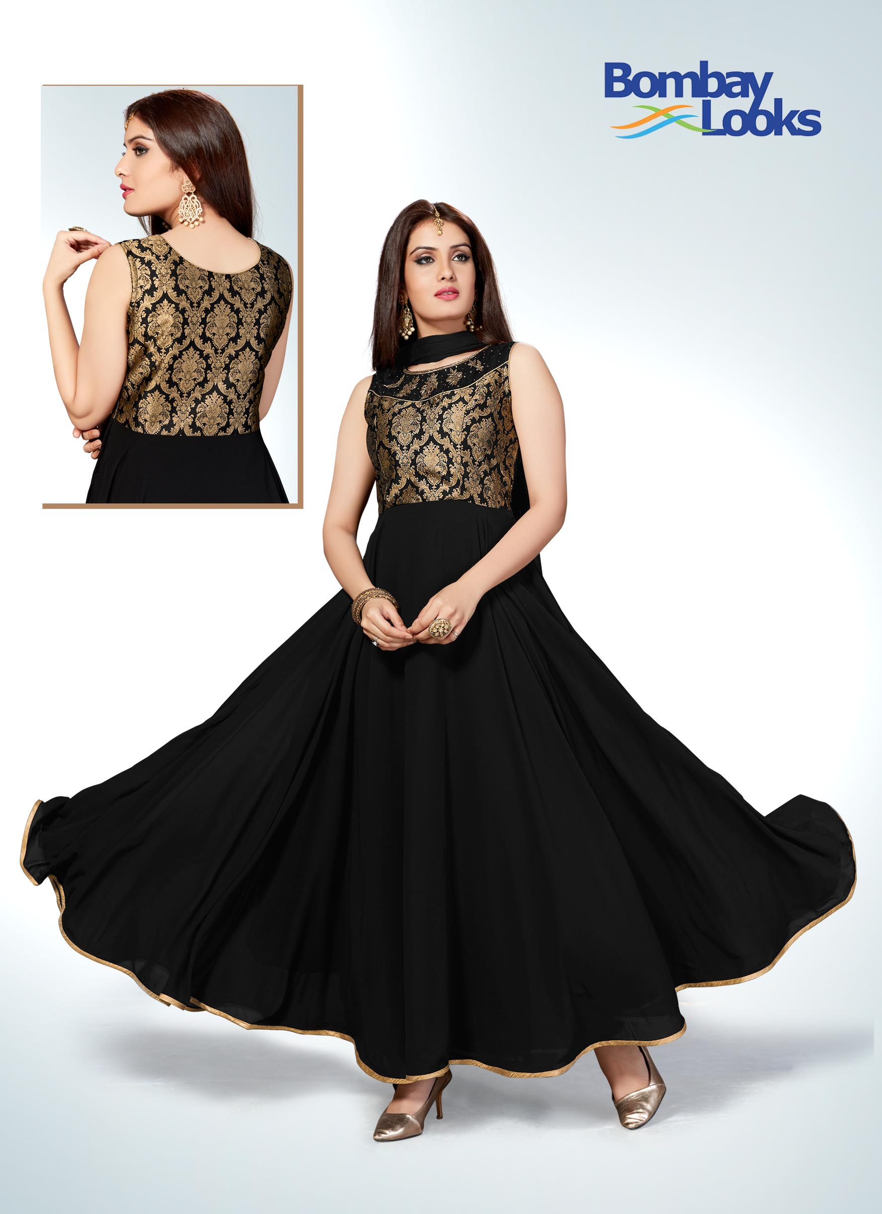 Raven black floor length anarkali with gold embroidered bodice