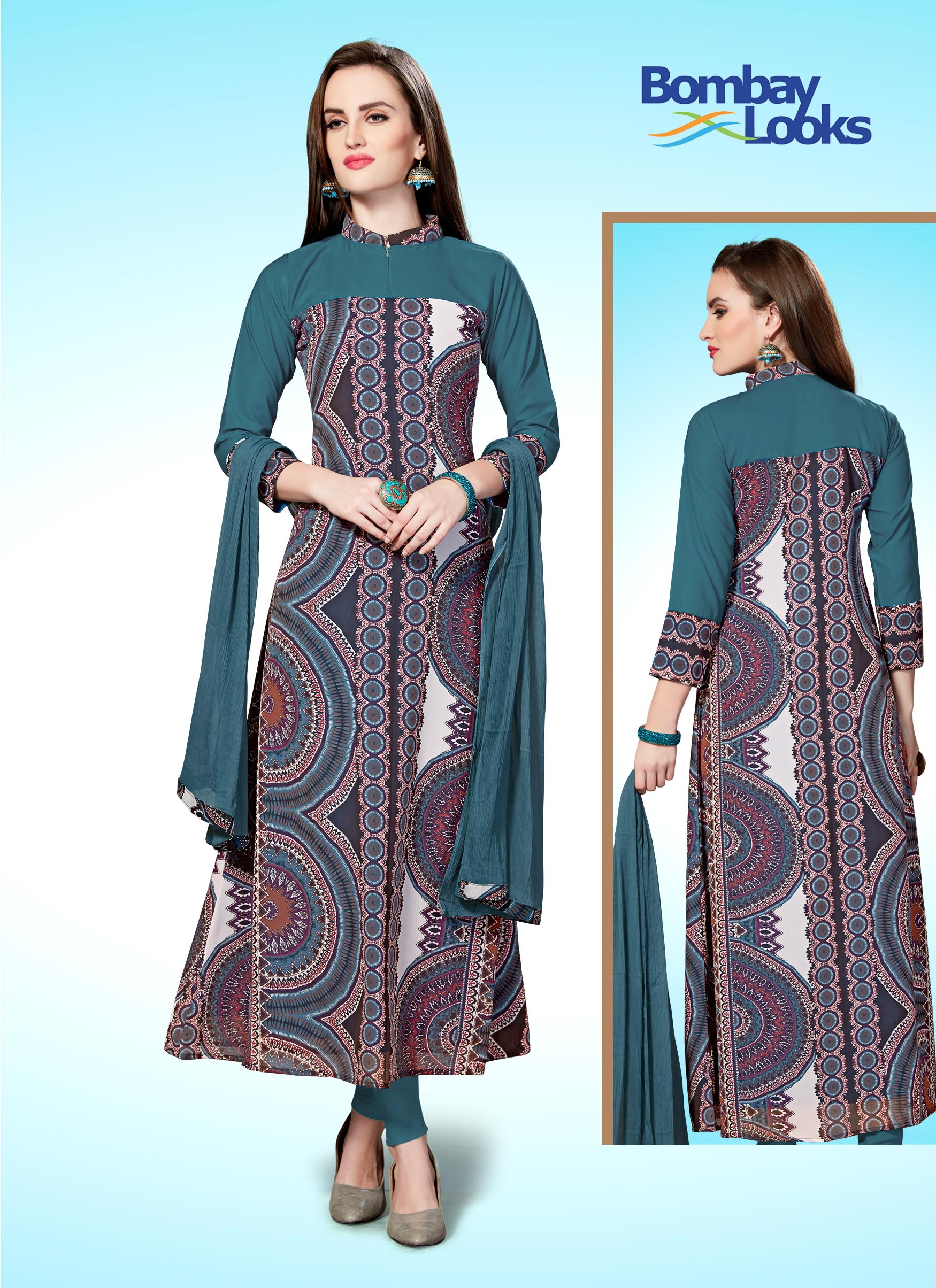 Bright jade abstract printed churidar set with full sleeves
