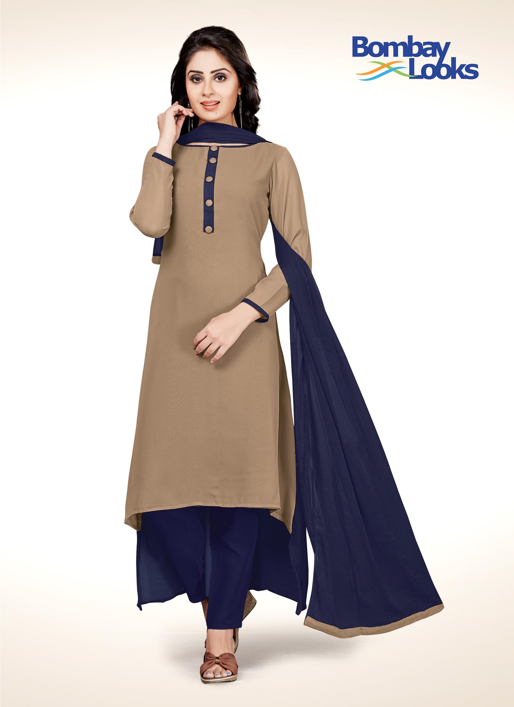 Beige coloured suit set with navy blue cigarette pant and dupatta