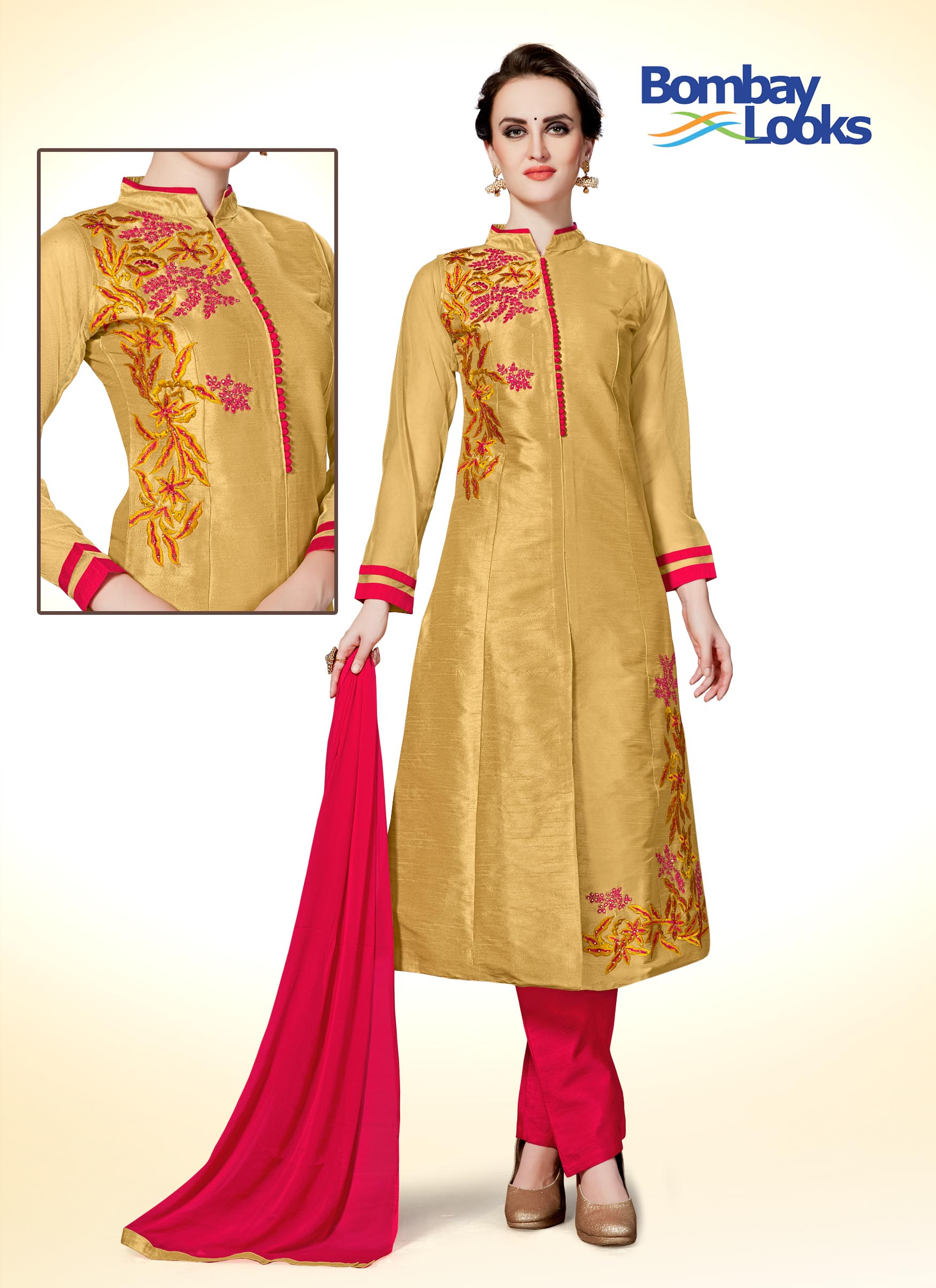 Gold coloured suit set with coral straight pants and dupatta