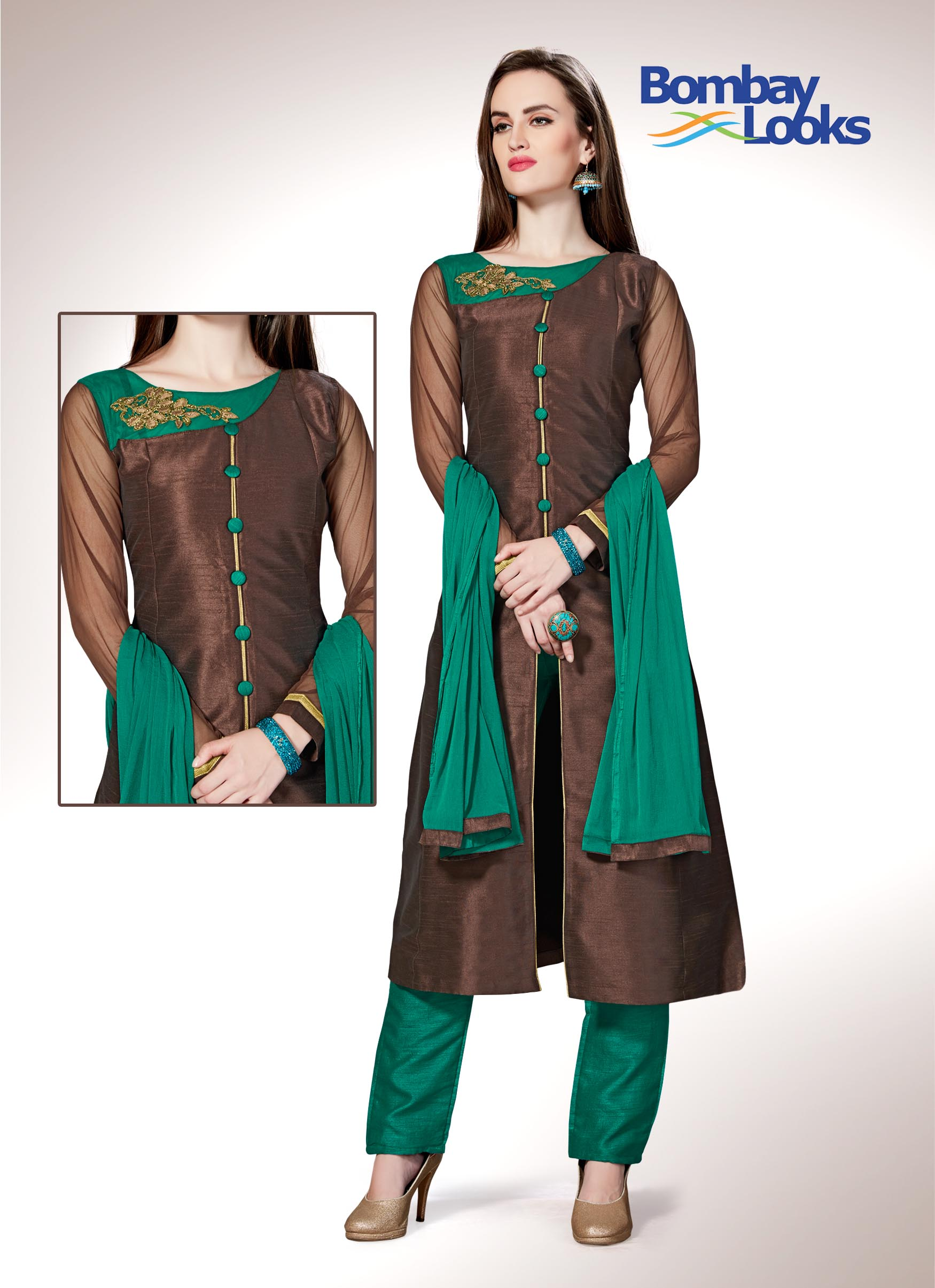 Look beautiful in this gorgeous chocolate brown raw silk suit with full sleeves and delicate embroidery