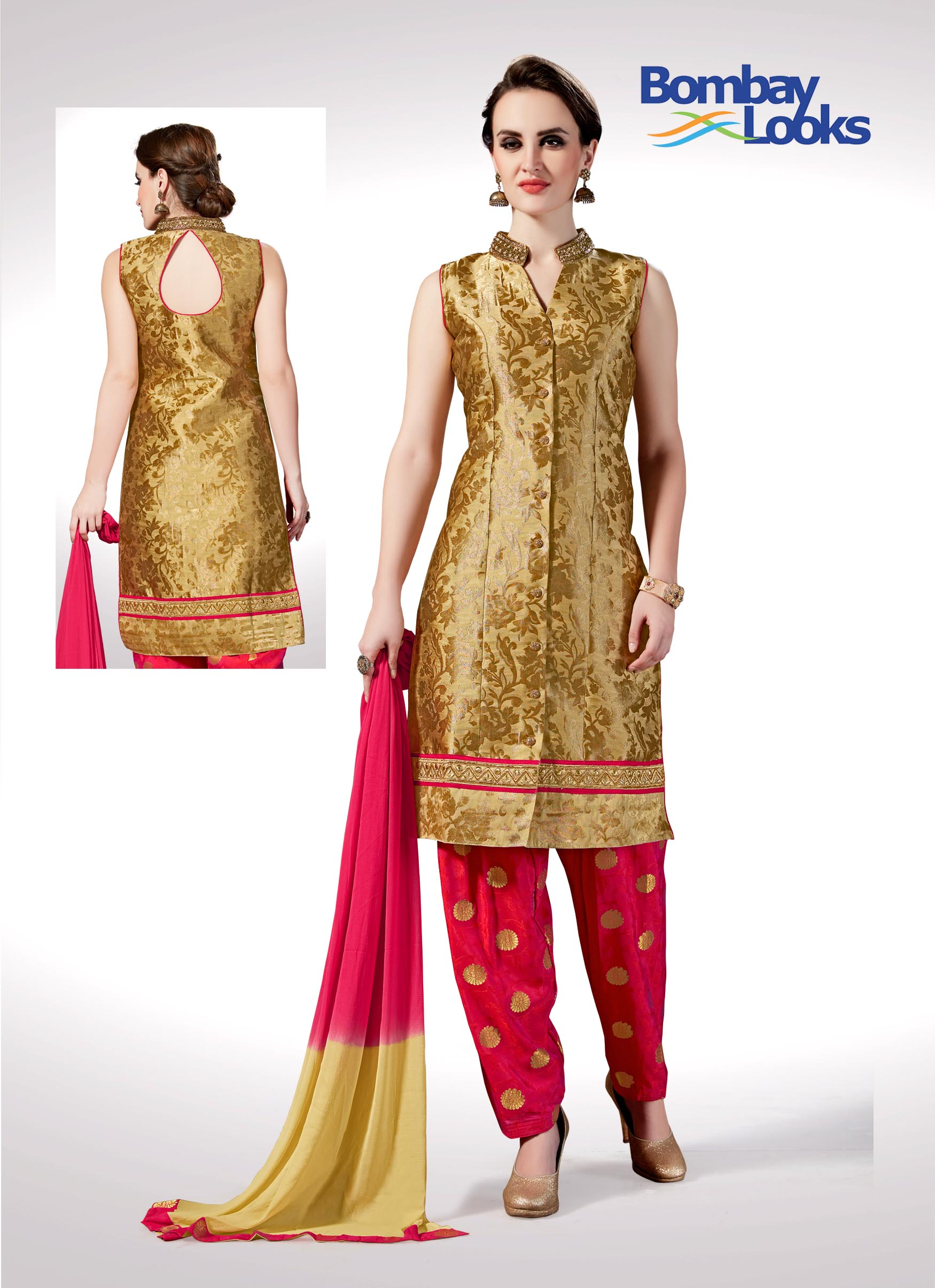 Look stunning by wearing this gold brocade work suit with gajri butta salwar pants and shaded  dupatta.