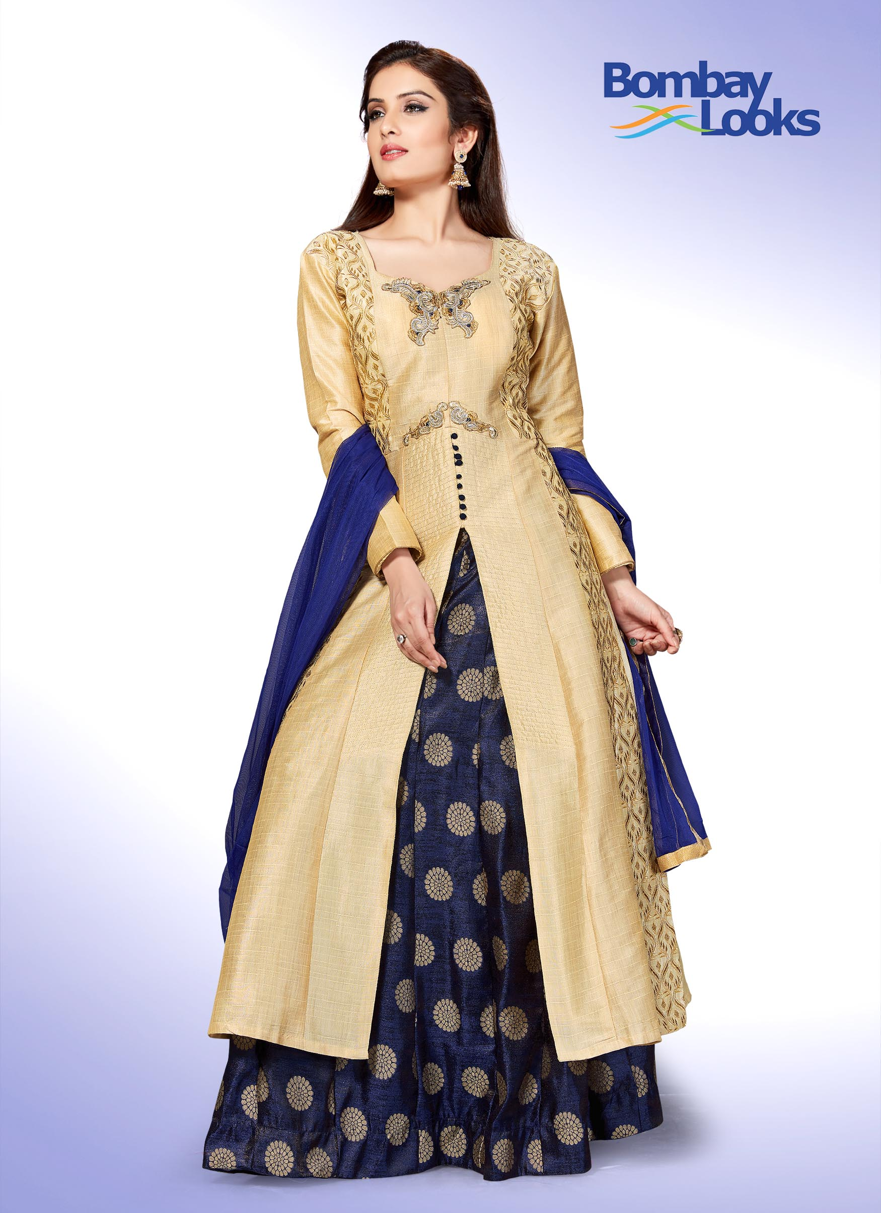 Beige suit set with navy blue brocade style skirt