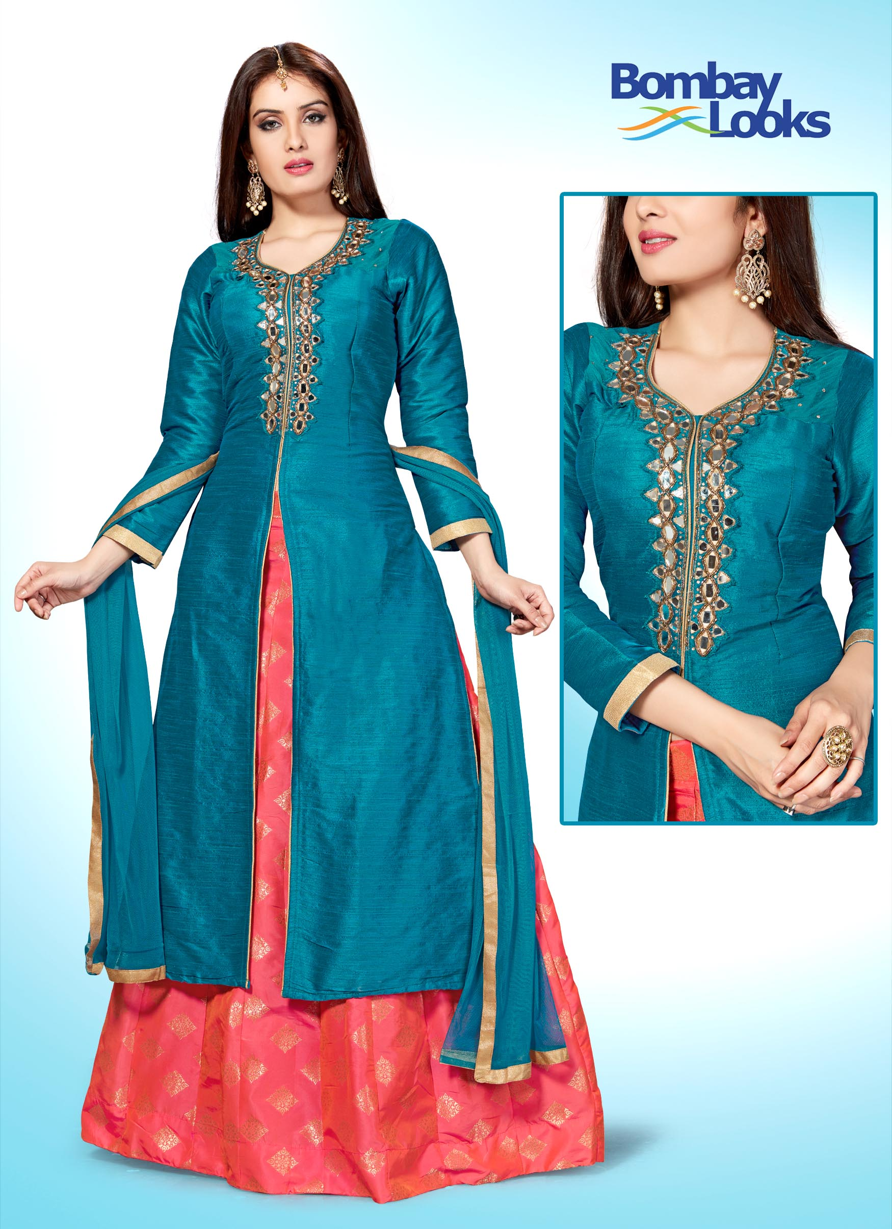 Royal blue suit set with brocade style skirt
