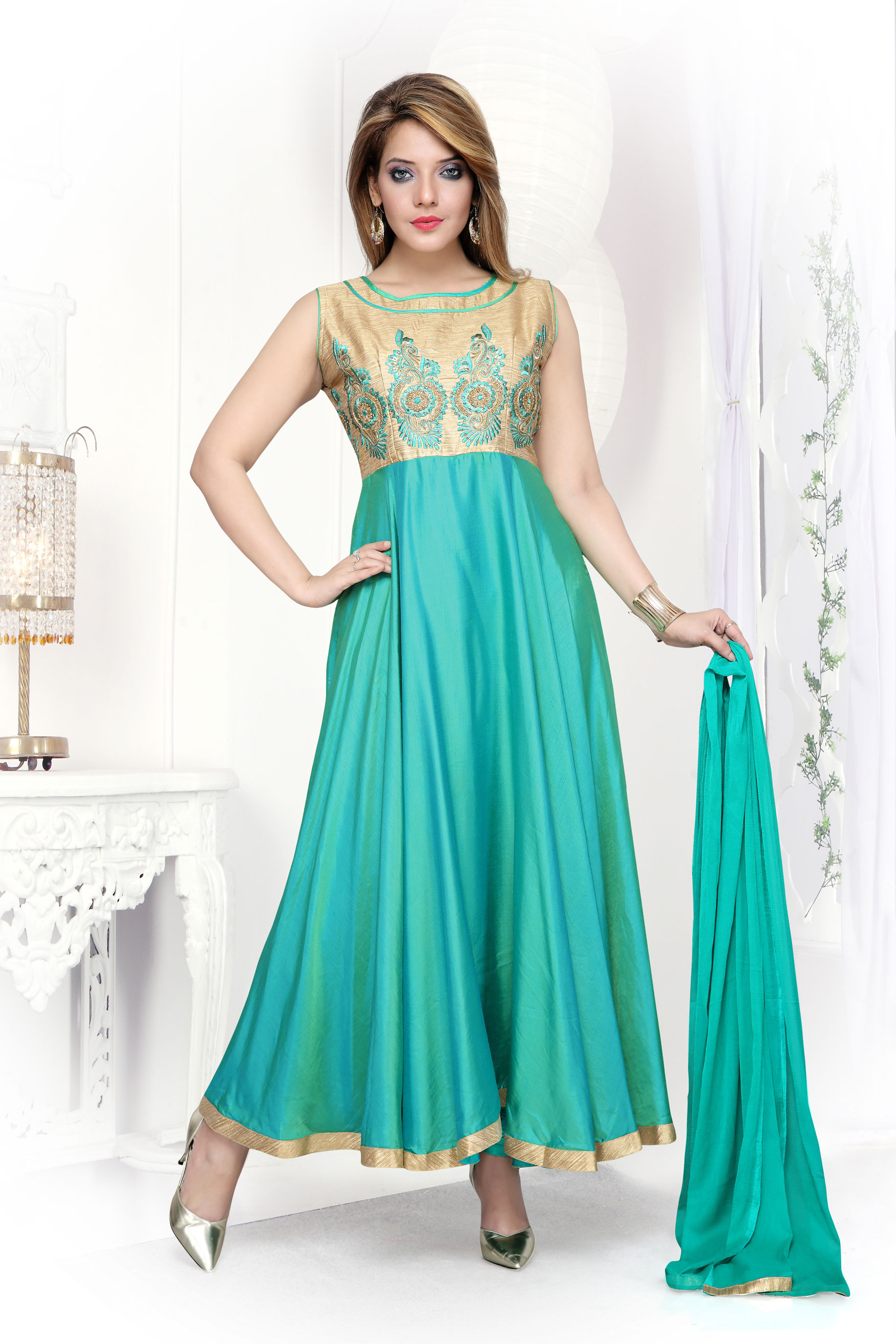 Trendy Rama Anarkali  suit with brocade bodice and Delicate border.