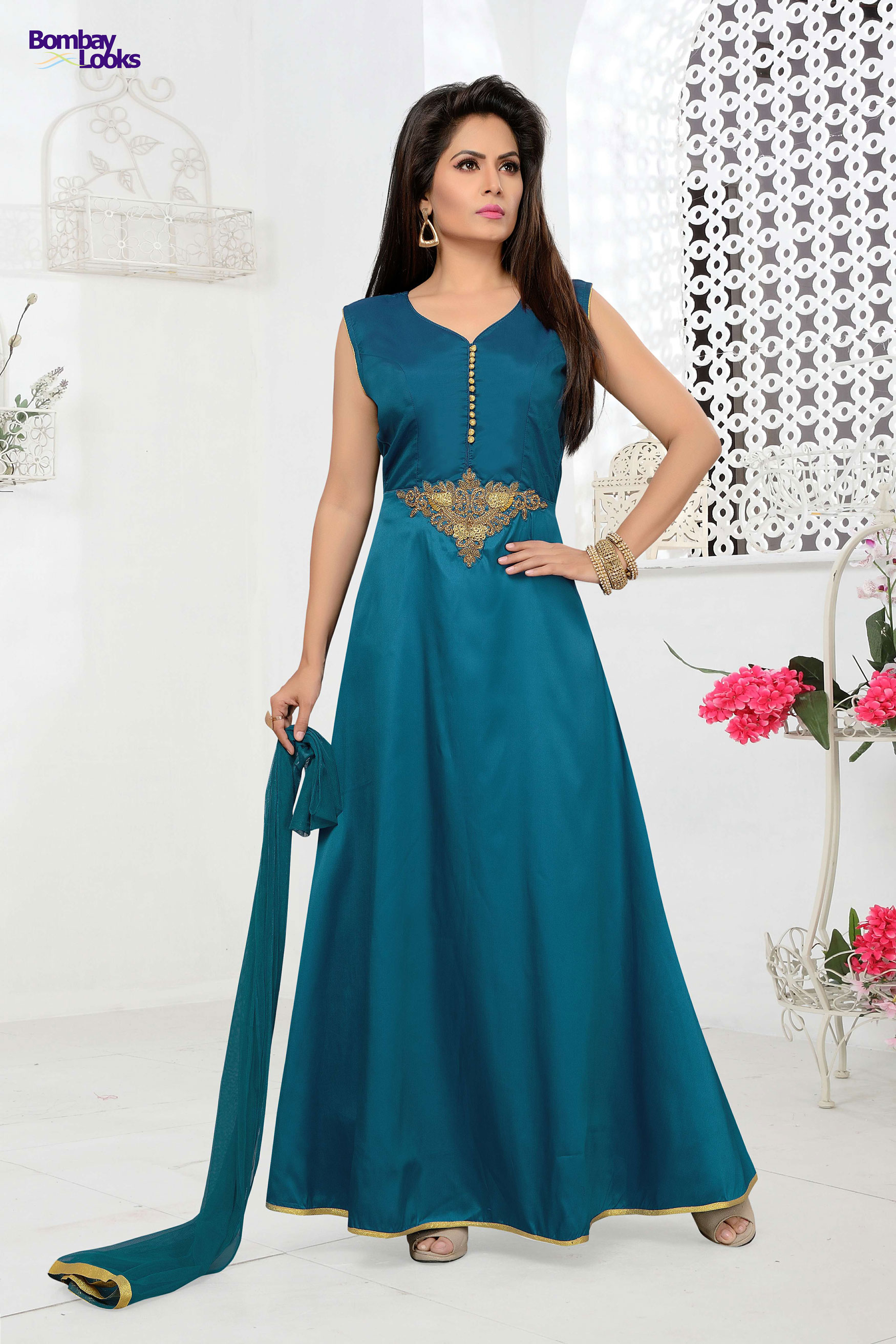Dark Firozi long anarkali dress