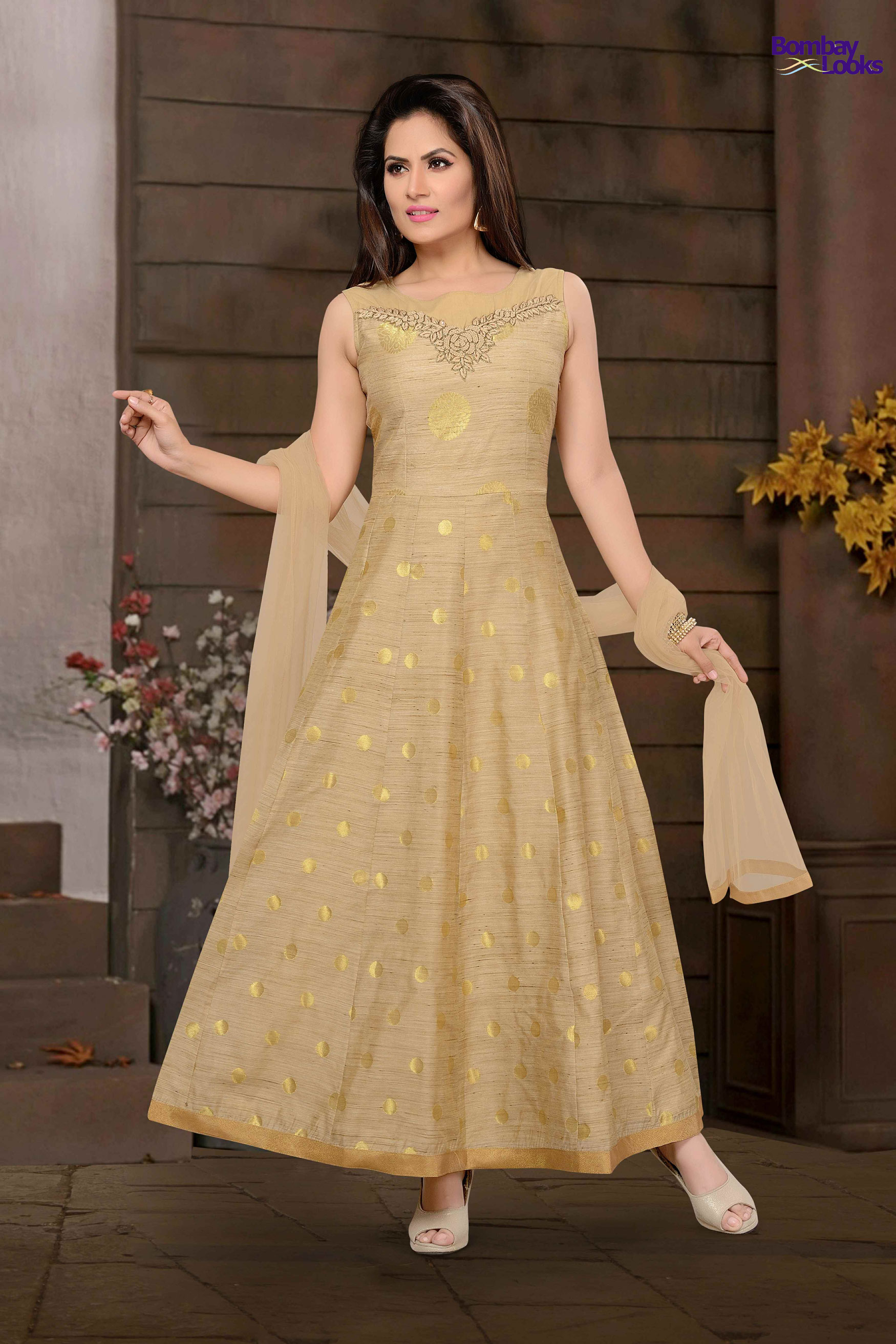 Trendy Long Banars butti design suit with resham embroidery