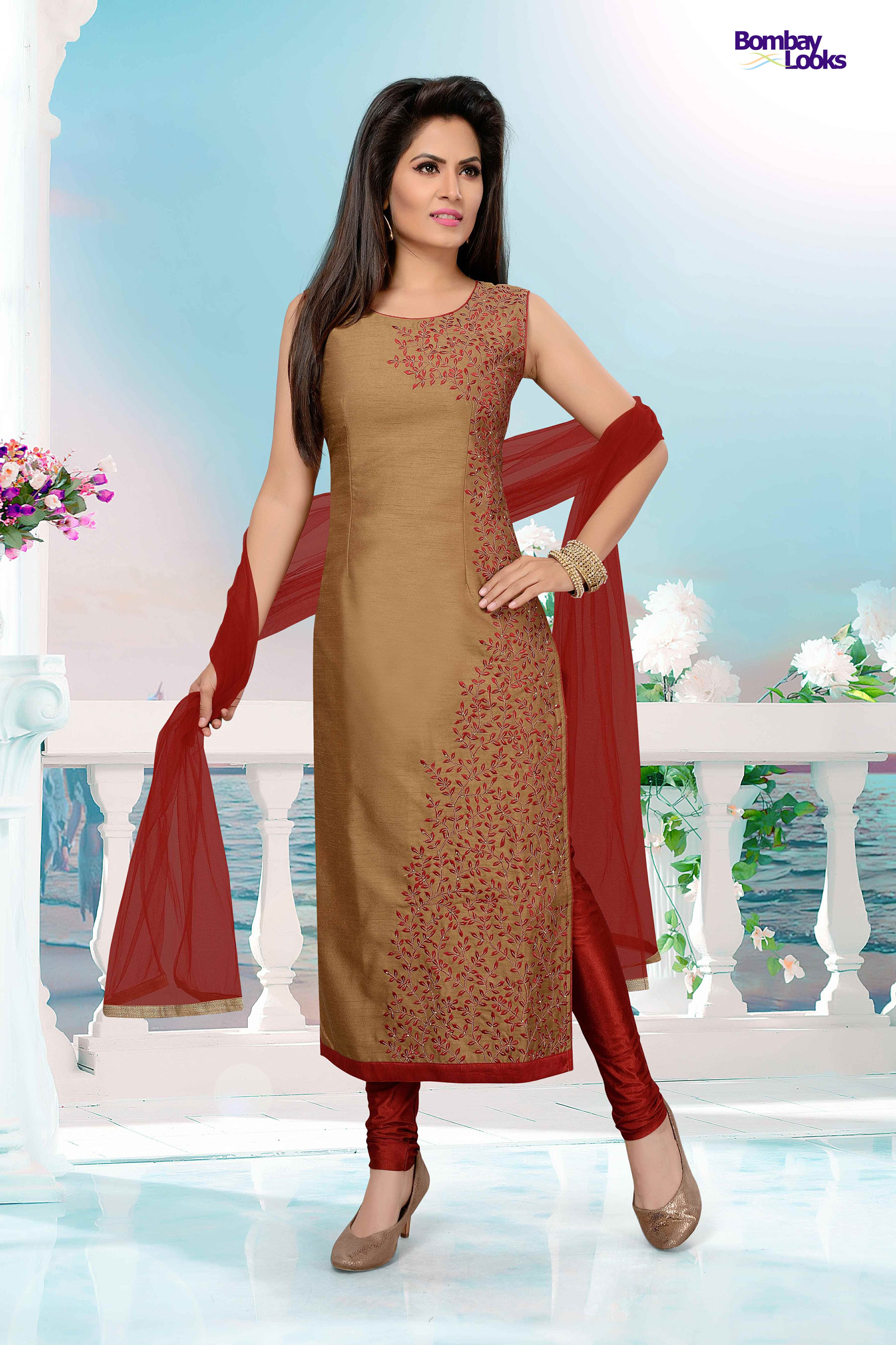 Brown coloured suit with one side resham embroidery
