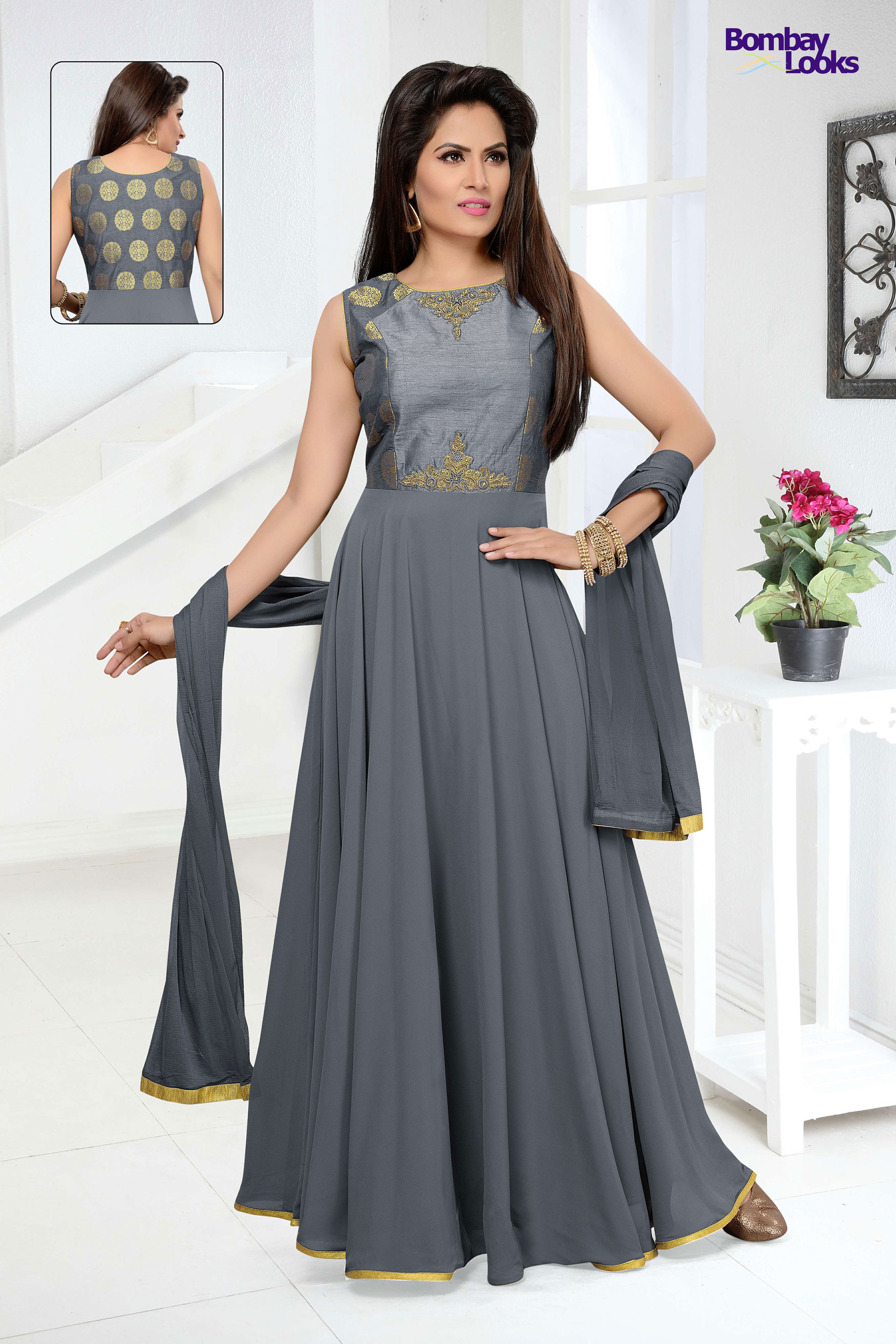 grey long length anarkali with delicate embroidery