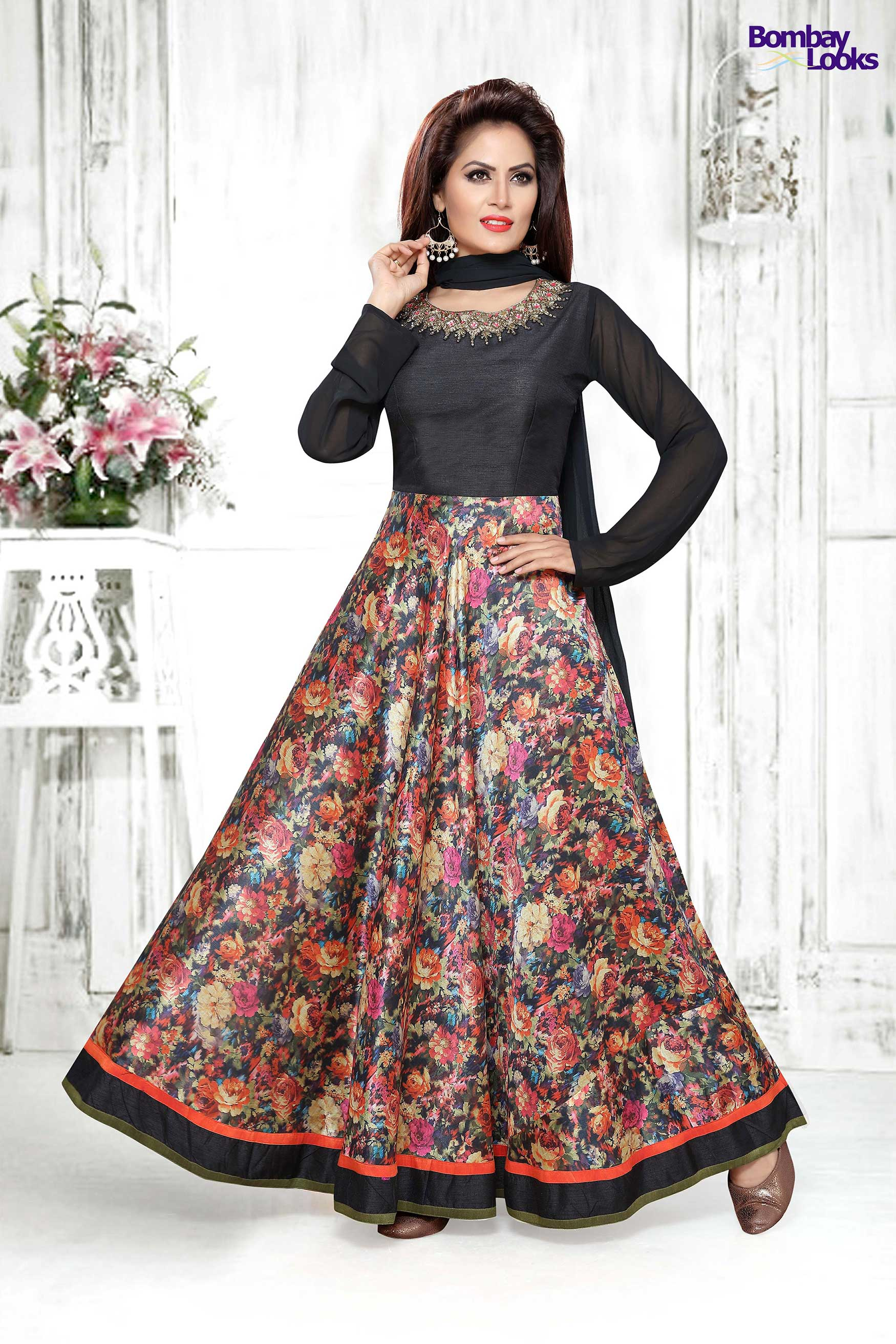 Black Anarkali  suit with dupion bodice and gorgeous floral print.