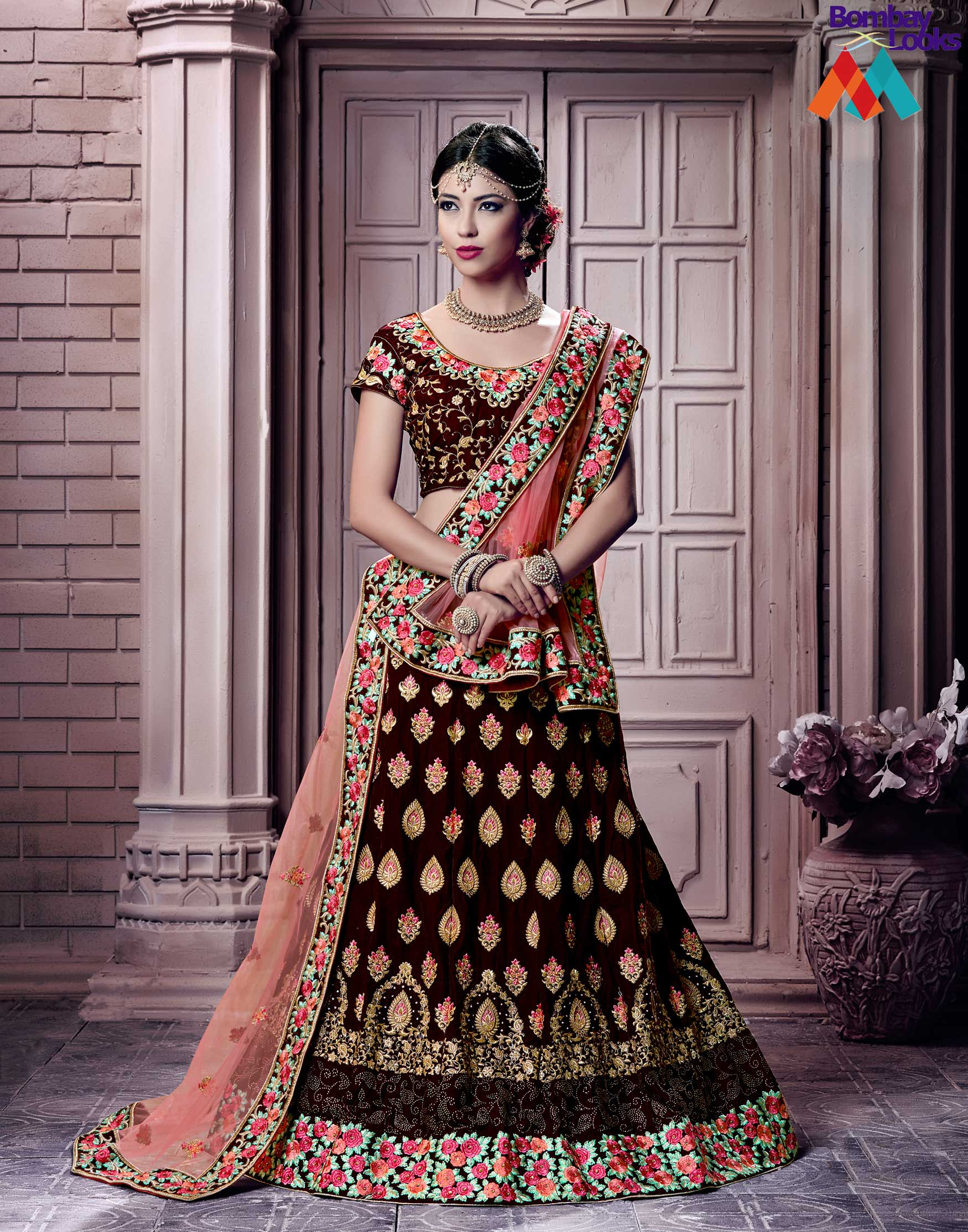 Velvet Lehenga choli in maroon colour