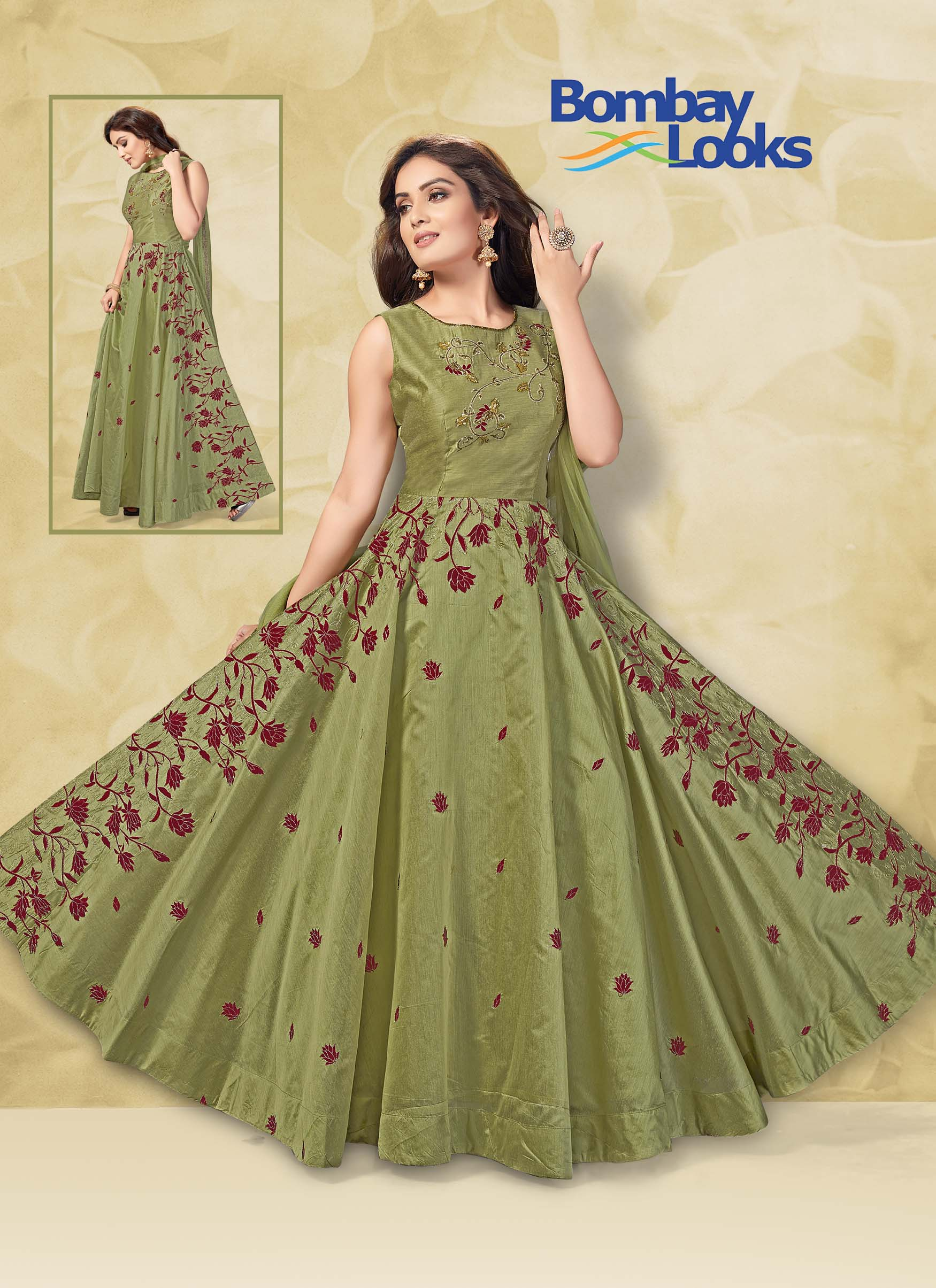Pista green chanderi floor length suit with matching dupatta