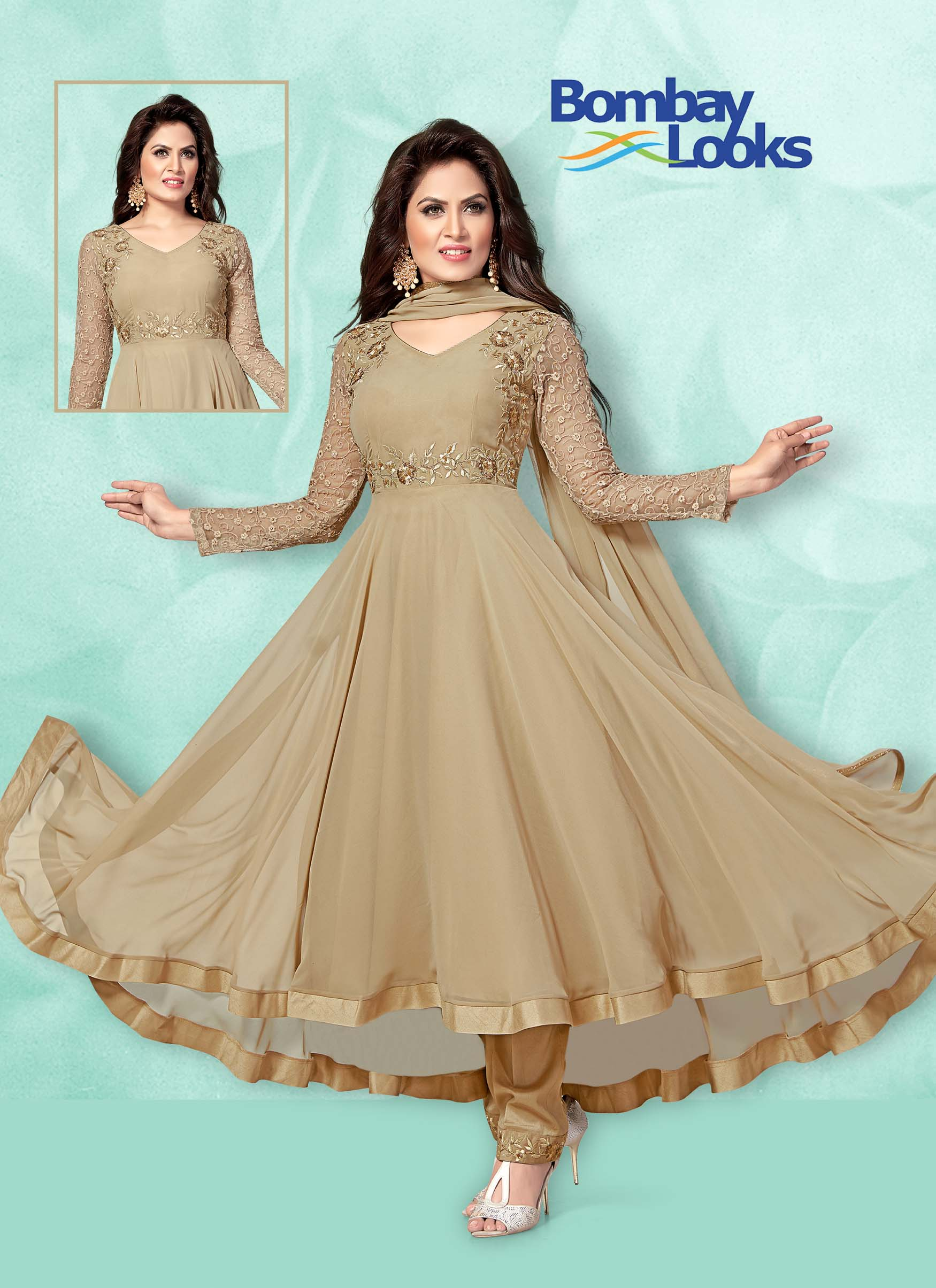 Beige Georgette suit in trail design with trouser