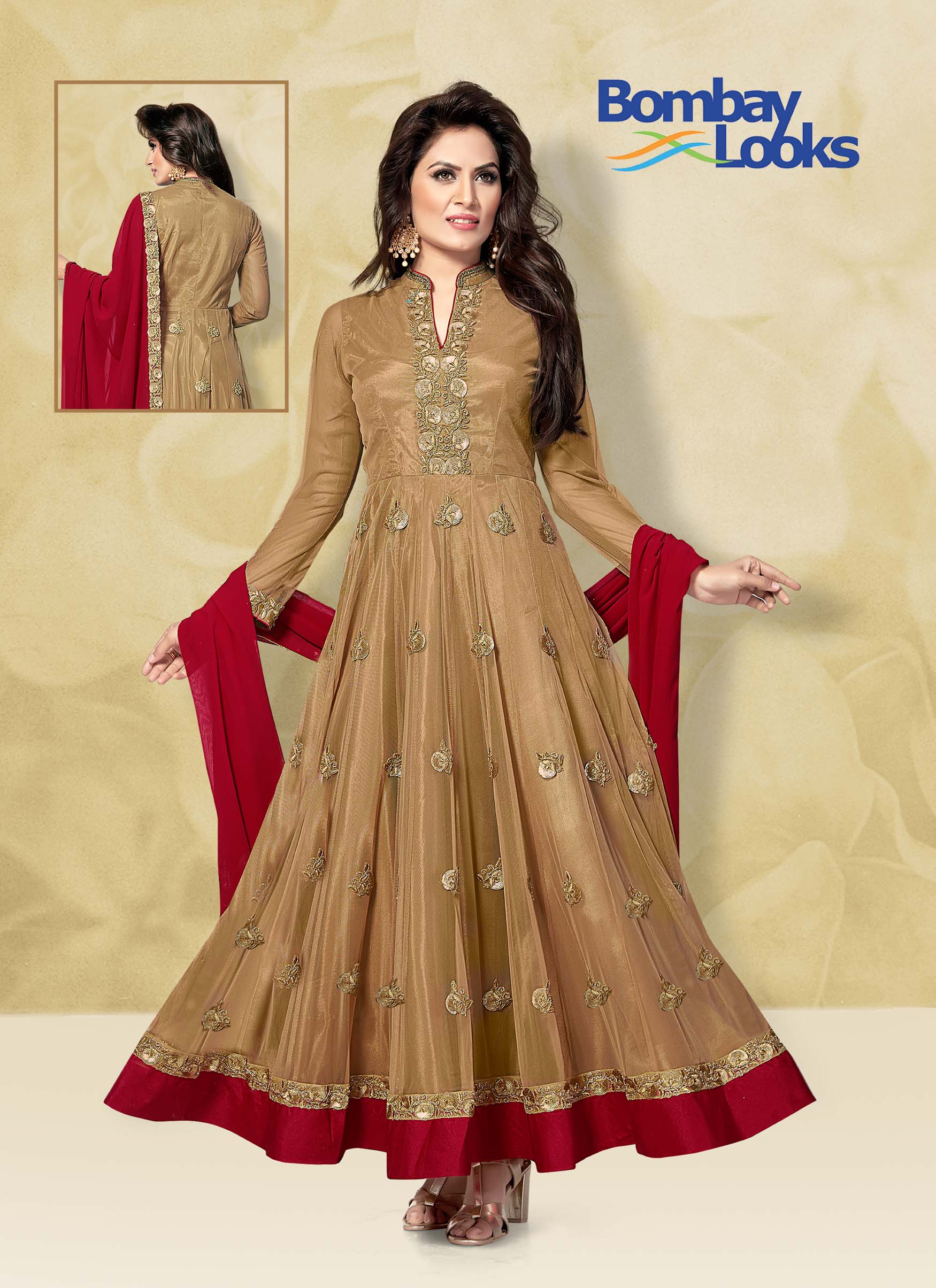 Soft net suit in light gold and contrast red dupatta