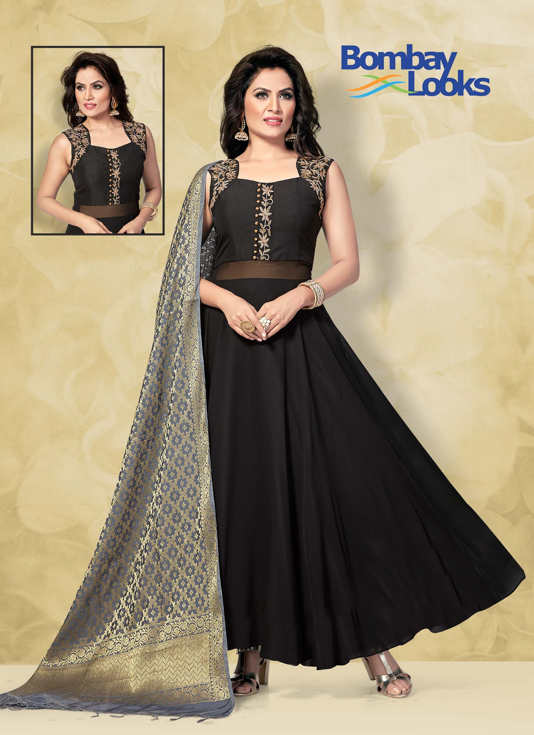 Black Georgette suit with Banarasi dupatta
