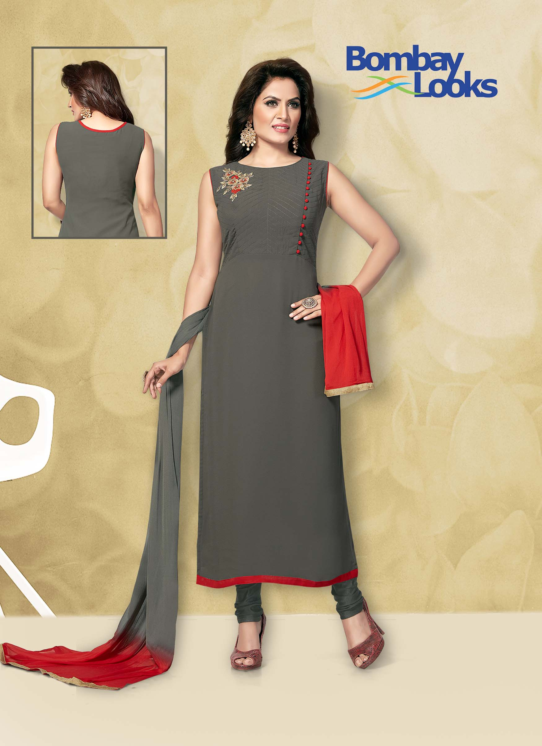 Georgette grey suit with grey churidar and shaded dupatta