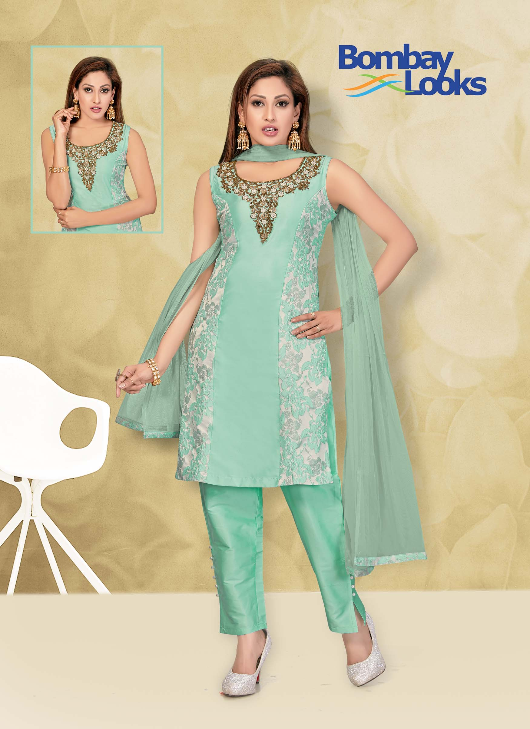 Sea green suit with matching pants and dupatta
