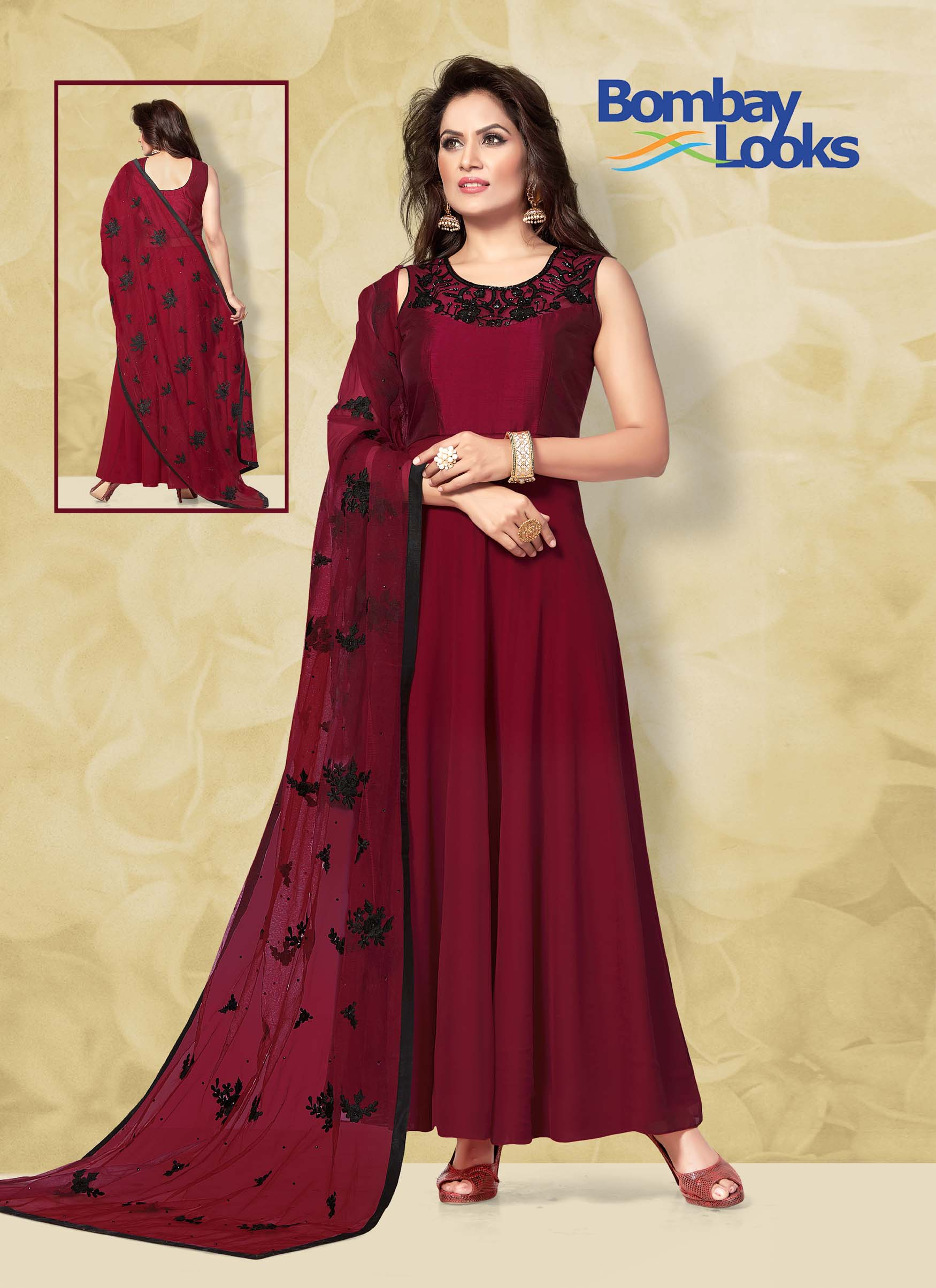 Maroon Georgette suit with embroidered net dupatta